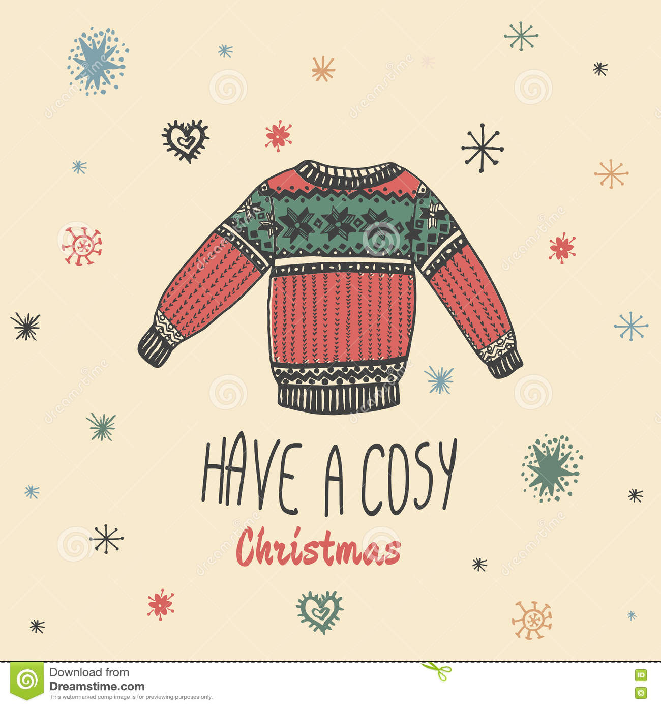 Christmas vintage card with with hand drawn sweater and text  Have a Cosy Christmas