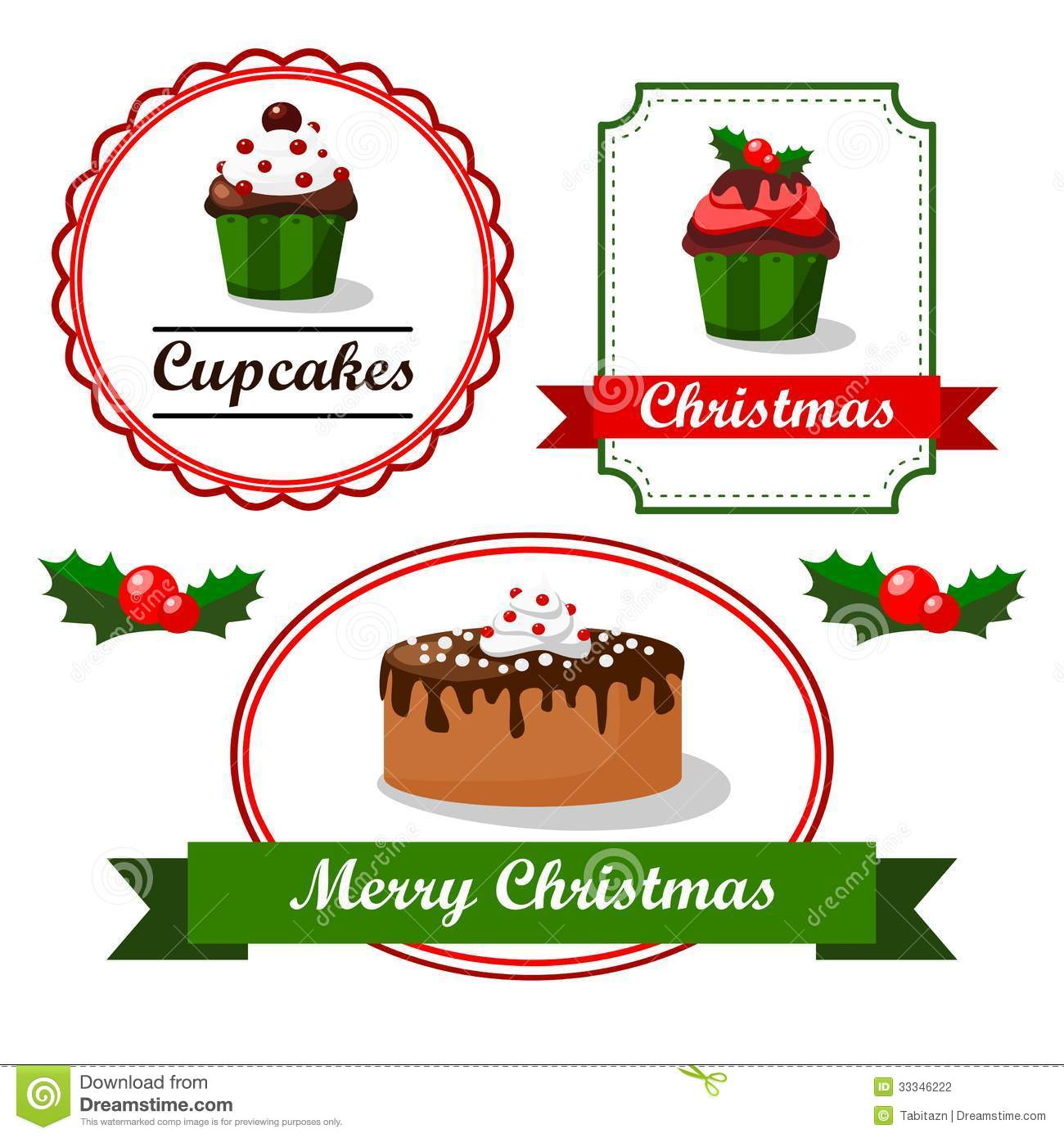christmas vintage food tags and labels with cupcak stock vector