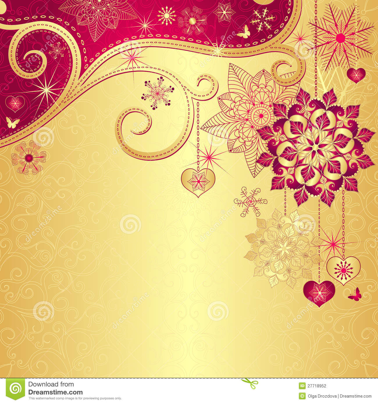 christmas vintage goldred background stock vector