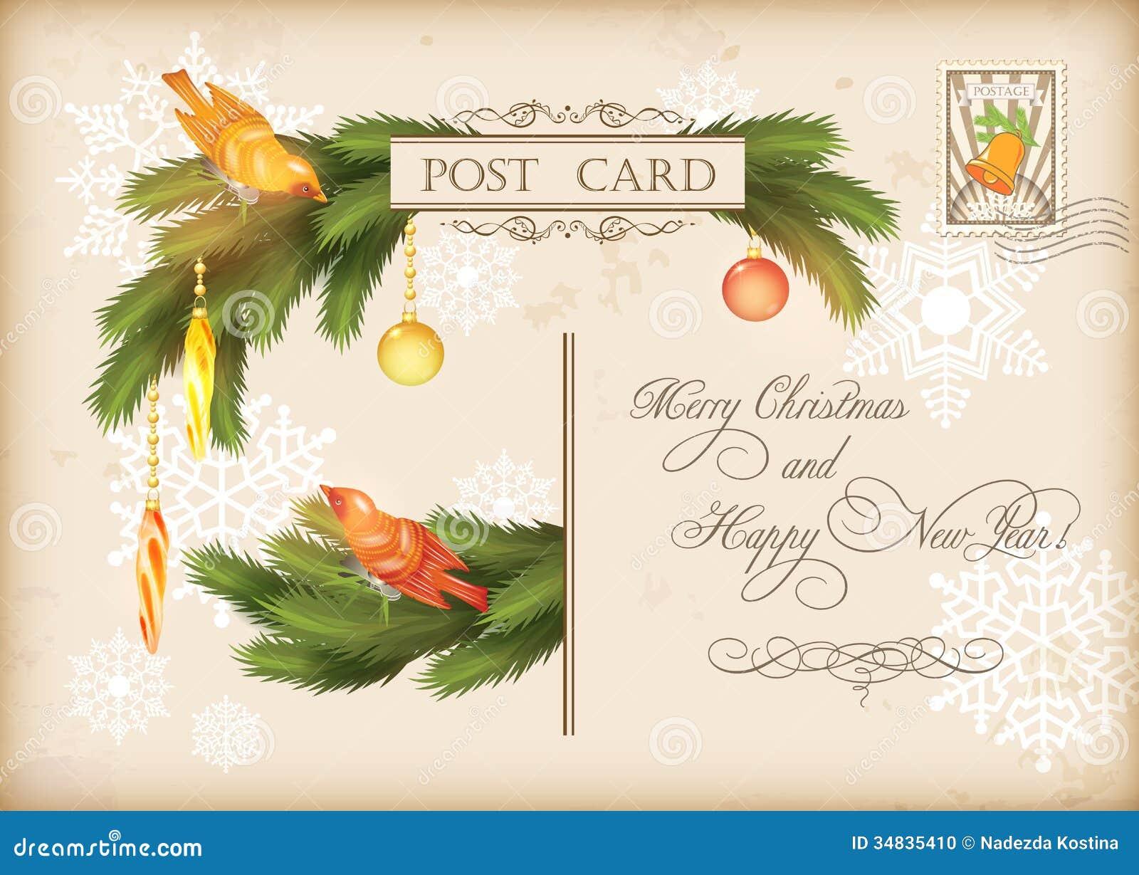 Christmas Vintage Holiday Vector Postcard Stock Photo