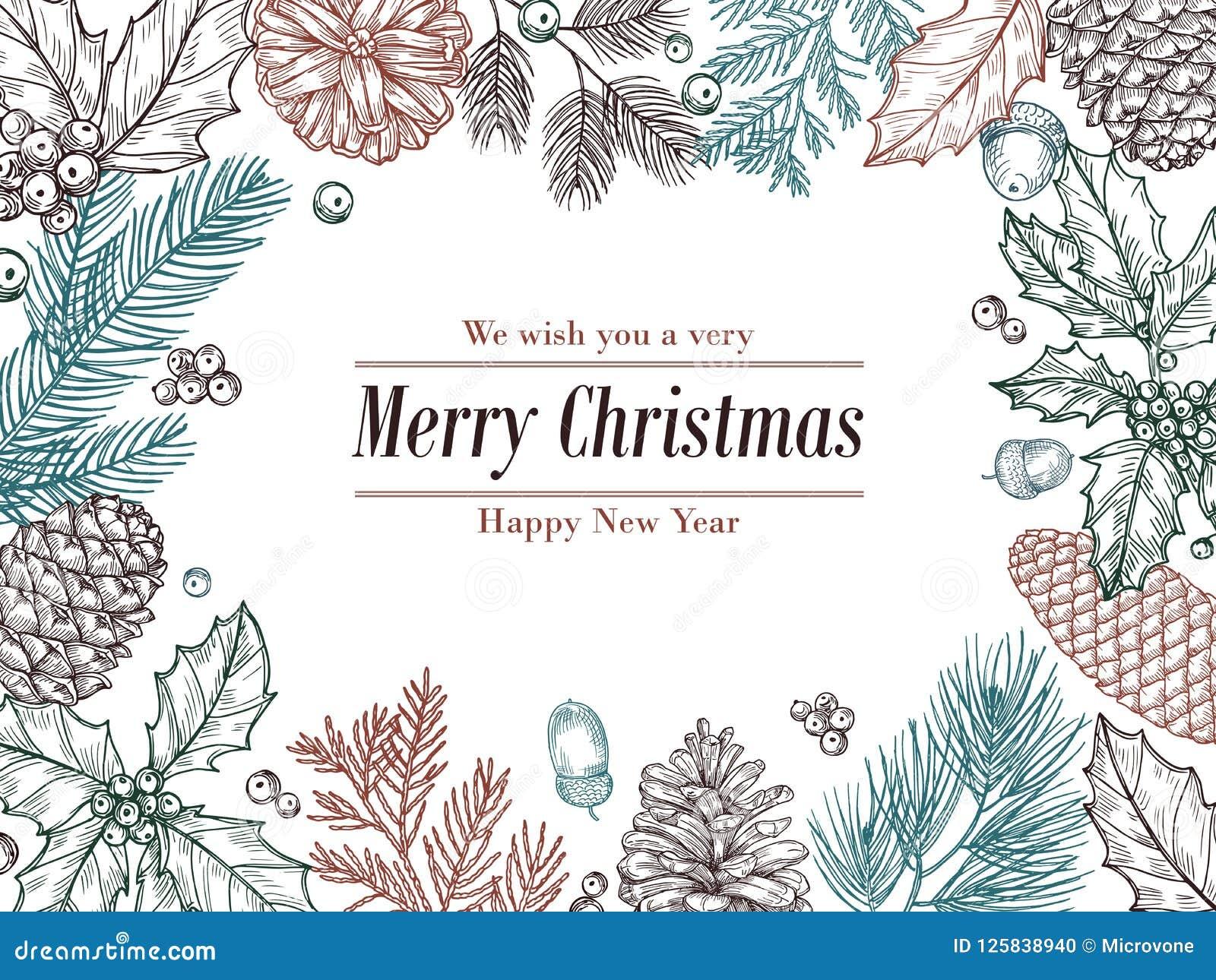 Christmas vintage invitation. Winter fir pine branches, pinecones floral border. Christmas, xmas botanical sketch frame