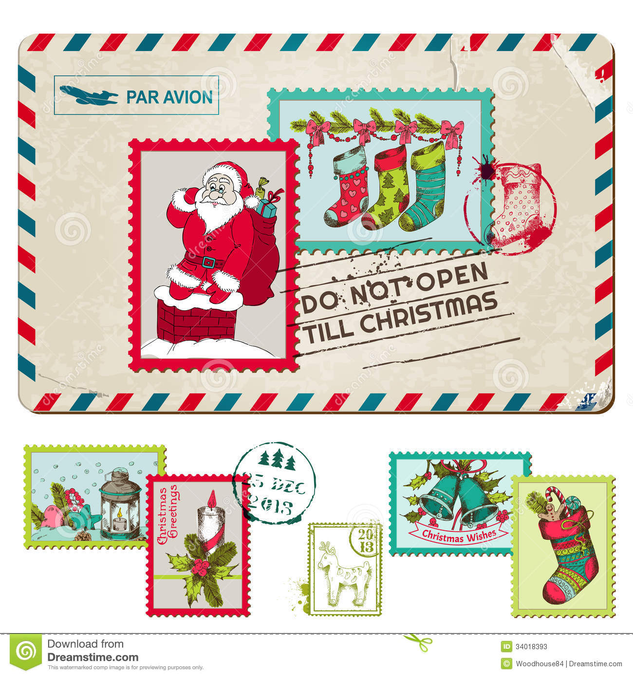 Christmas Vintage Postcard with Postage Stamps - for design, scrapbook ...