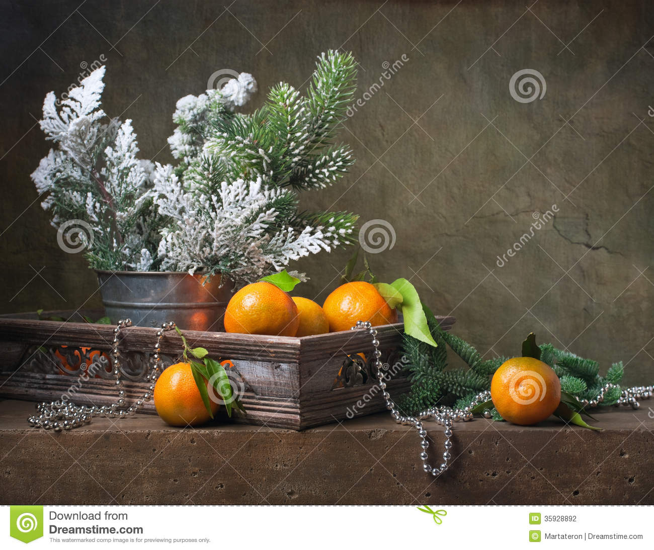 Christmas vintage still life with tangerines stock photo