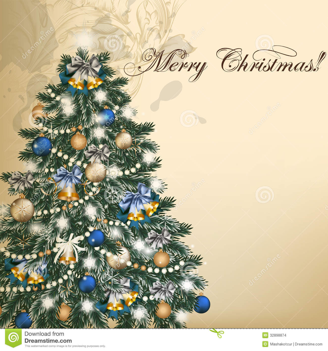 Christmas Vintage Vector Greeting Card With Xmas Tree Stock Images ...