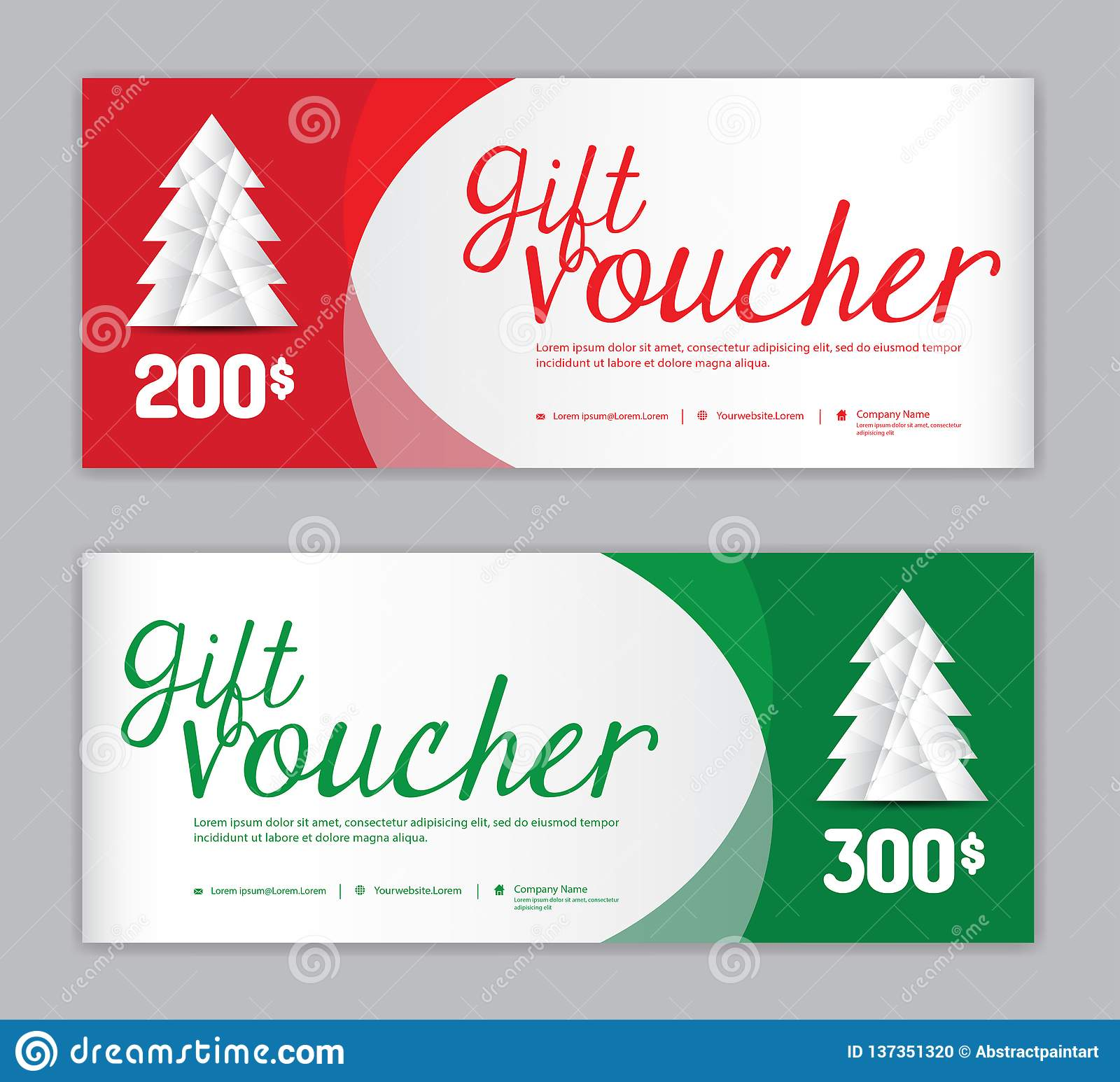 Christmas Voucher, Sale banner template, Horizontal christmas posters, cards, headers, website, red and green background, vector