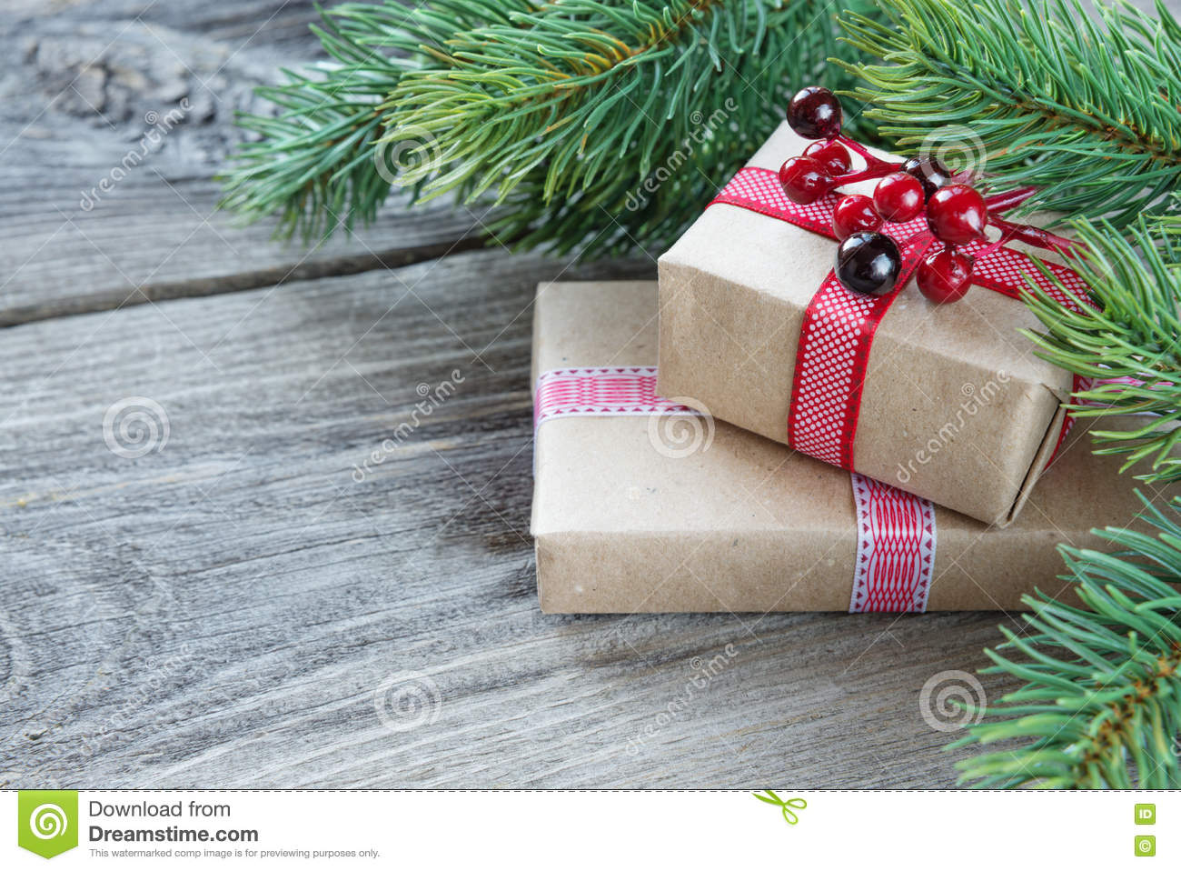 Christmas Wallpaper With Gift Boxes Stock Image - Image of planks ...