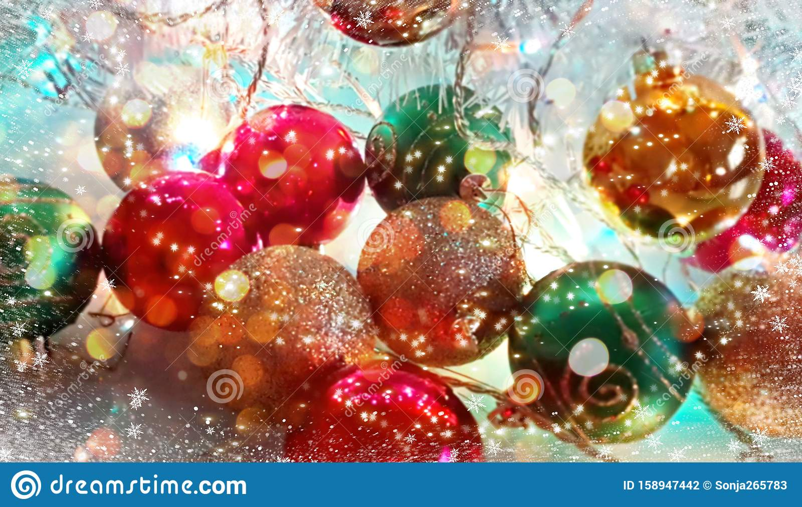 christmas wallpaper holiday white gold silver red green balls snowflakes light decoration new year blurry lights back modern 158947442