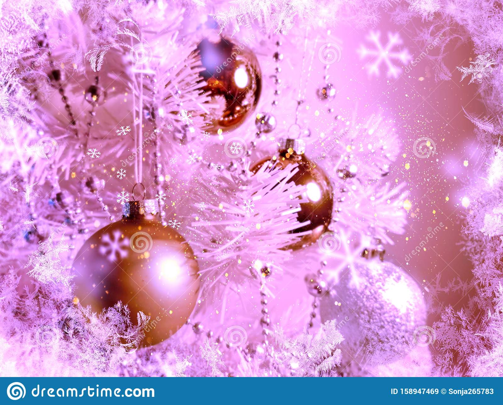 christmas wallpaper holiday white gold silver red green balls snowflakes light decoration new year blurry lights back modern 158947469