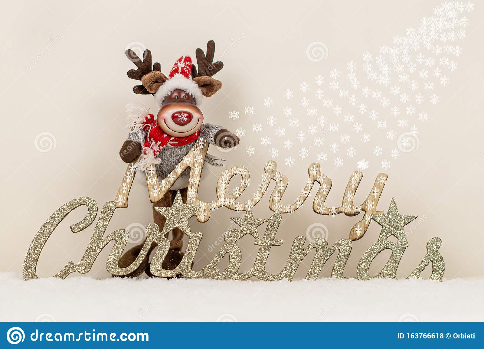 christmas wallpaper merry christmas inscription reindeer snowflake decoration snowy background reindeer merry 163766618