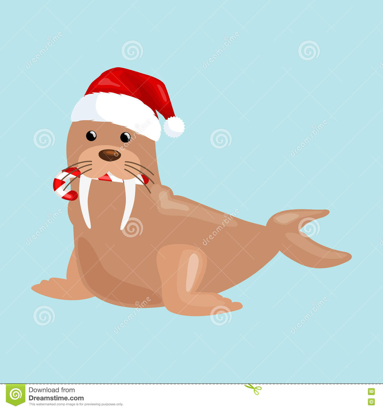 2e8ee1038affa Christmas walrus in a cap and with a candy in your mouth is and enjoys in