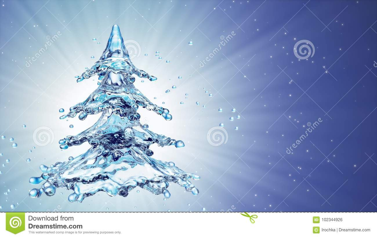 Christmas Water Splash Tree On Blue Background Stock Photo