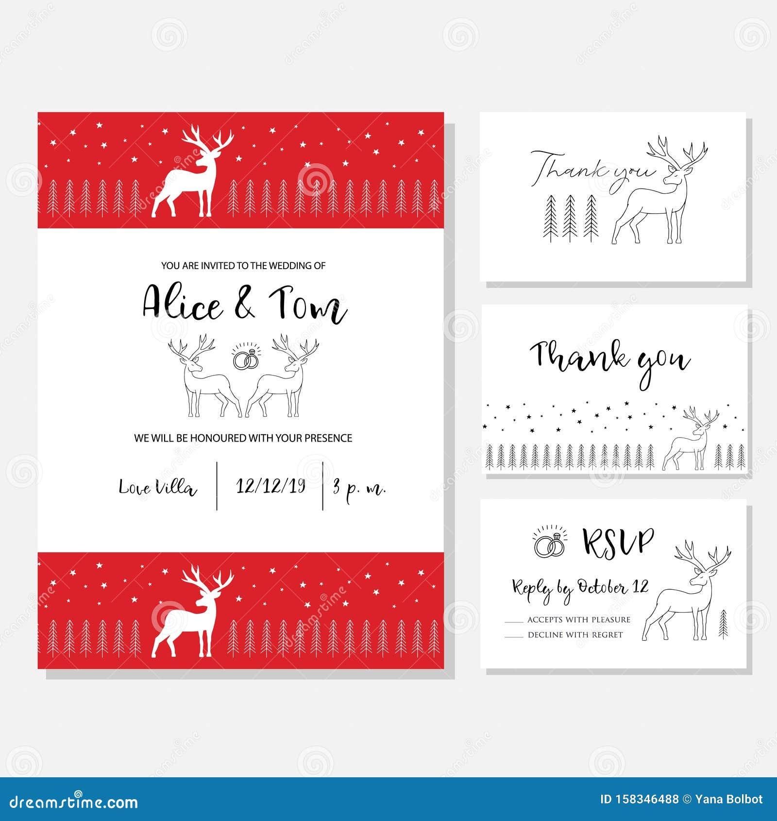 christmas wedding invitation card stock vector