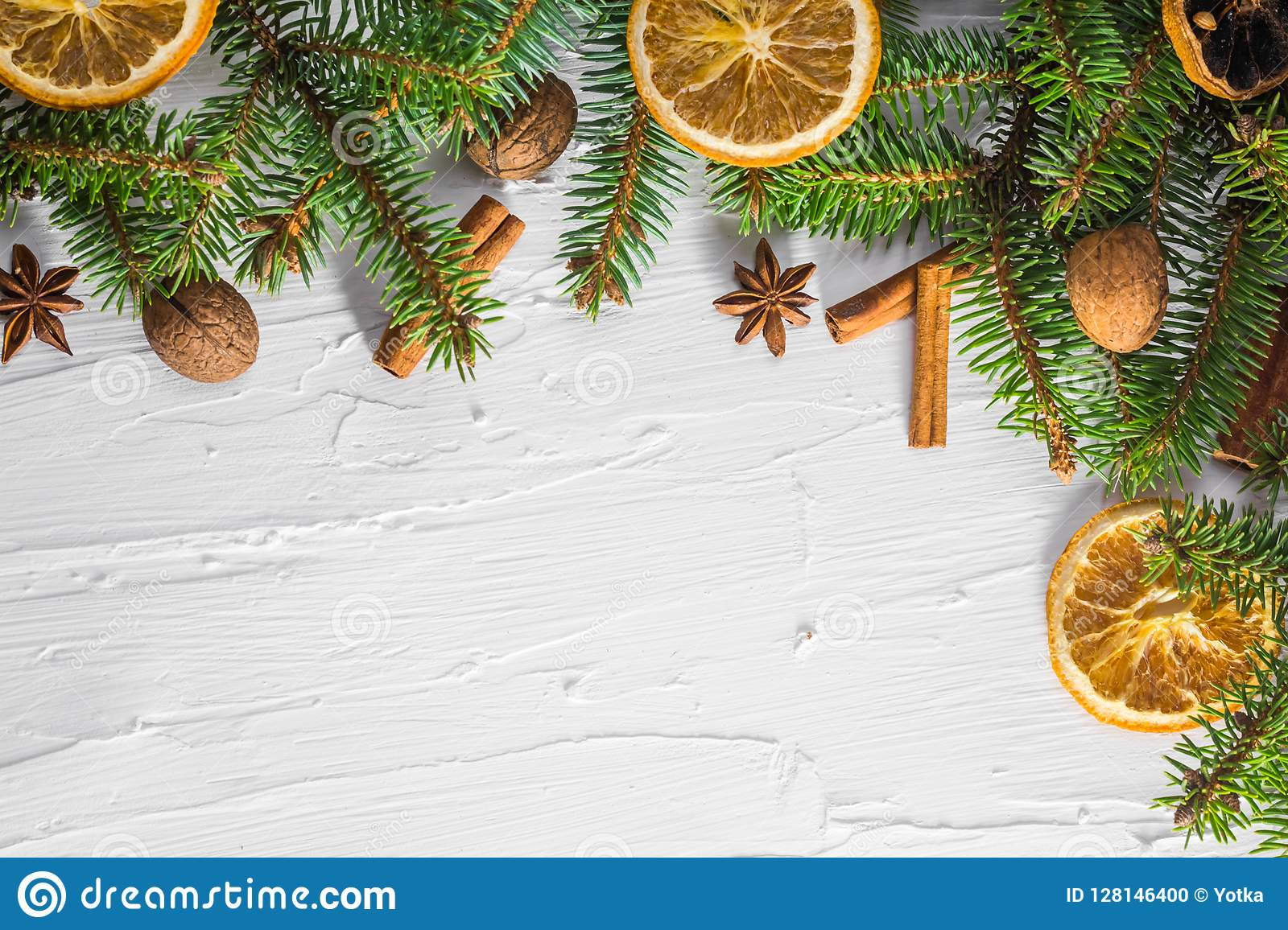 Christmas white background fresh twigs conifer tree dried citrus