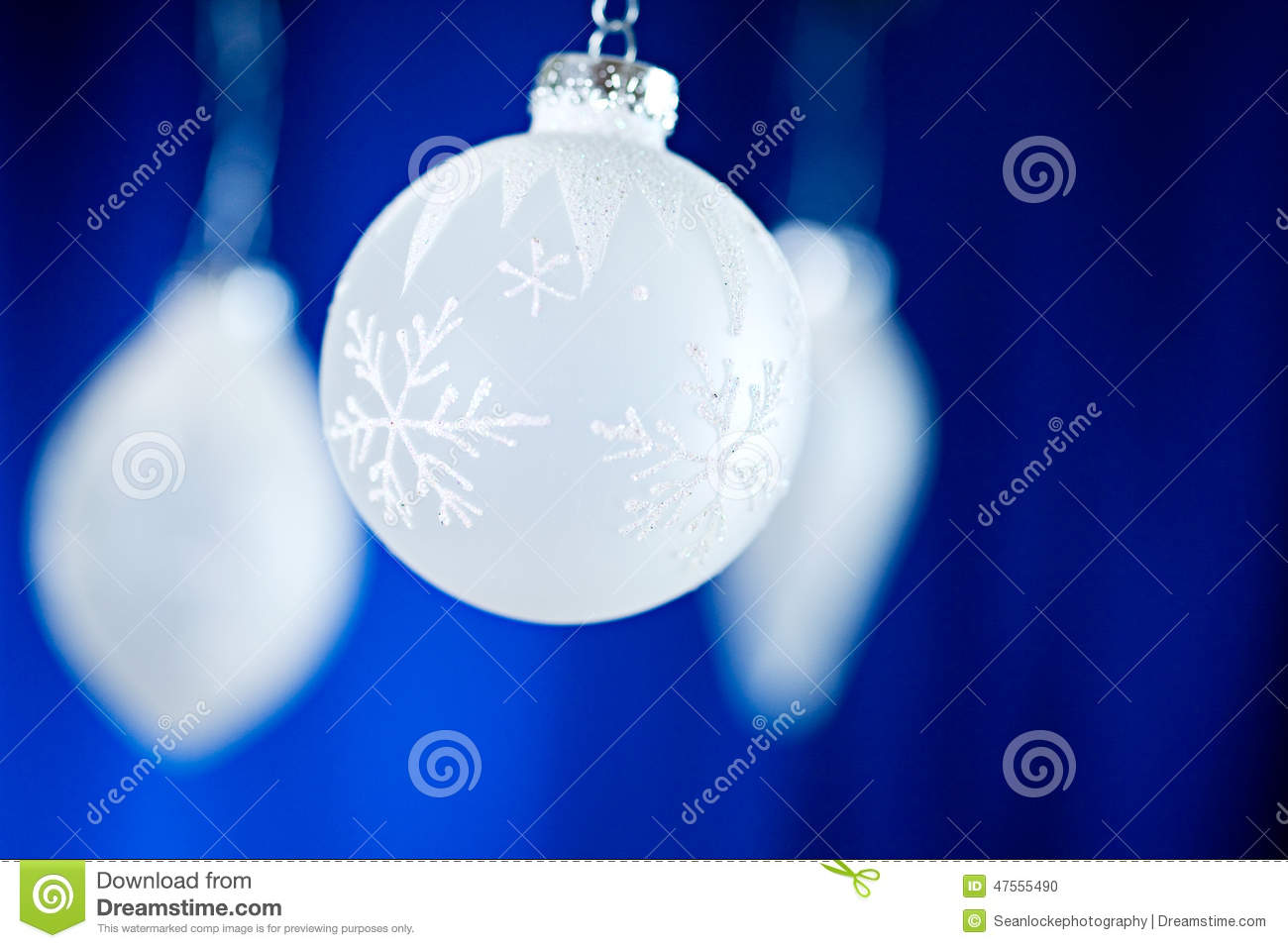 christmas white frosty ornaments on blue background - Frosty Blue Christmas Decorations