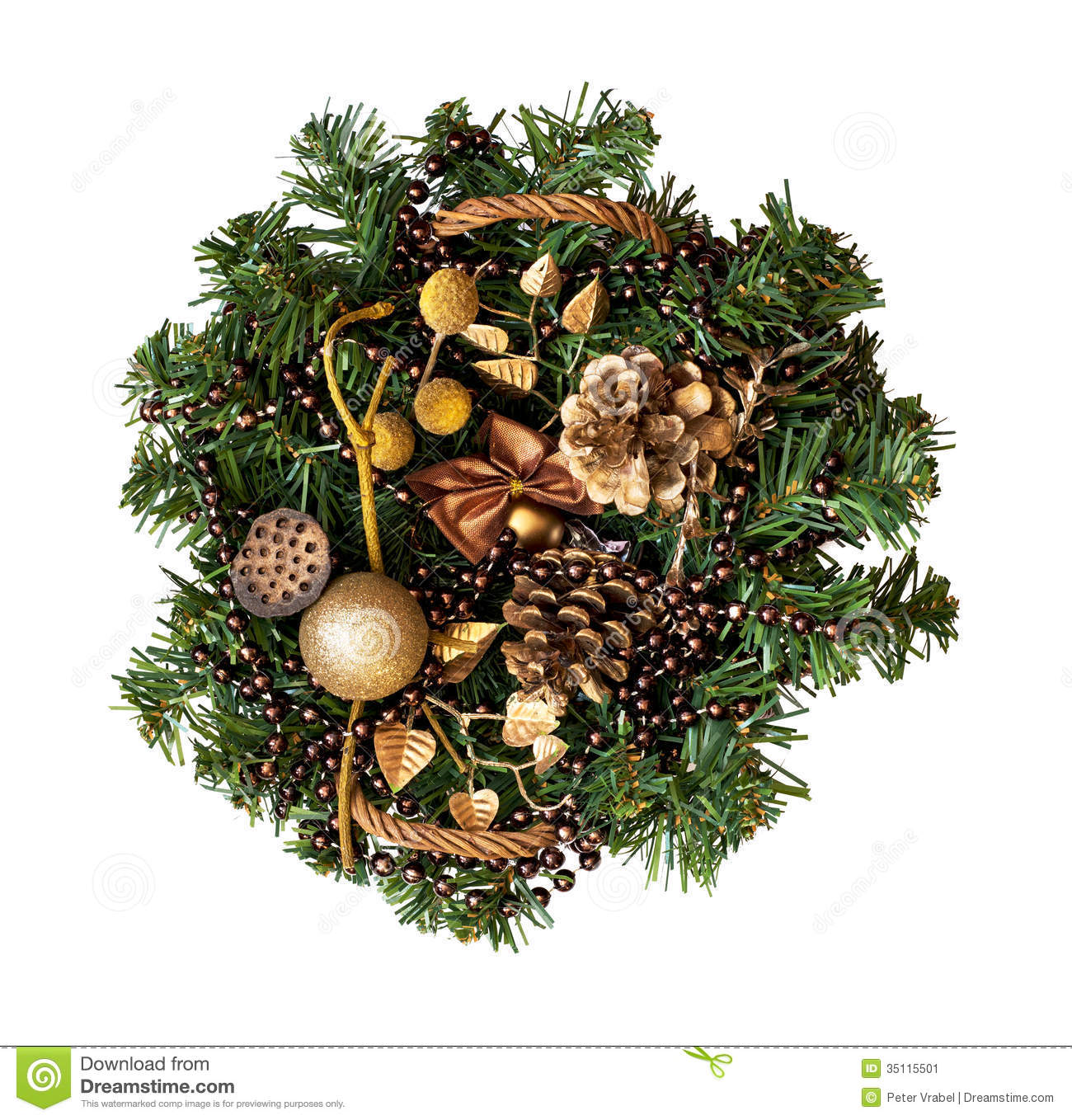 Christmas Wicker Basket With Decorations And A Branch Of