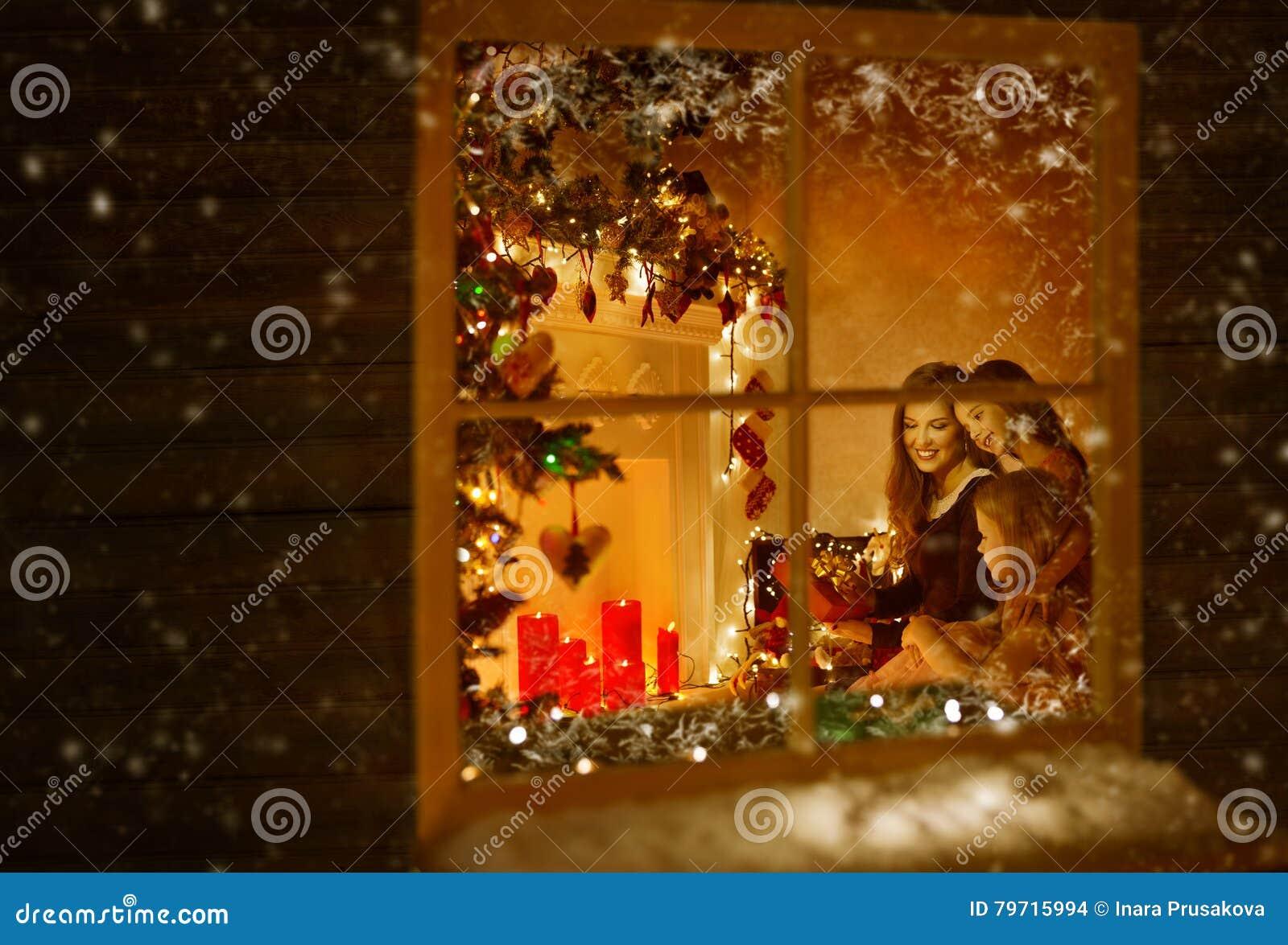 Christmas Window, Family Celebrating Holiday, Winter Night House
