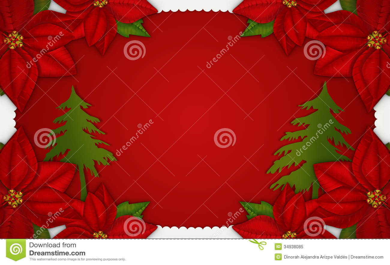 Christmas window illustration royalty free stock photo for Poinsettia christmas tree frame