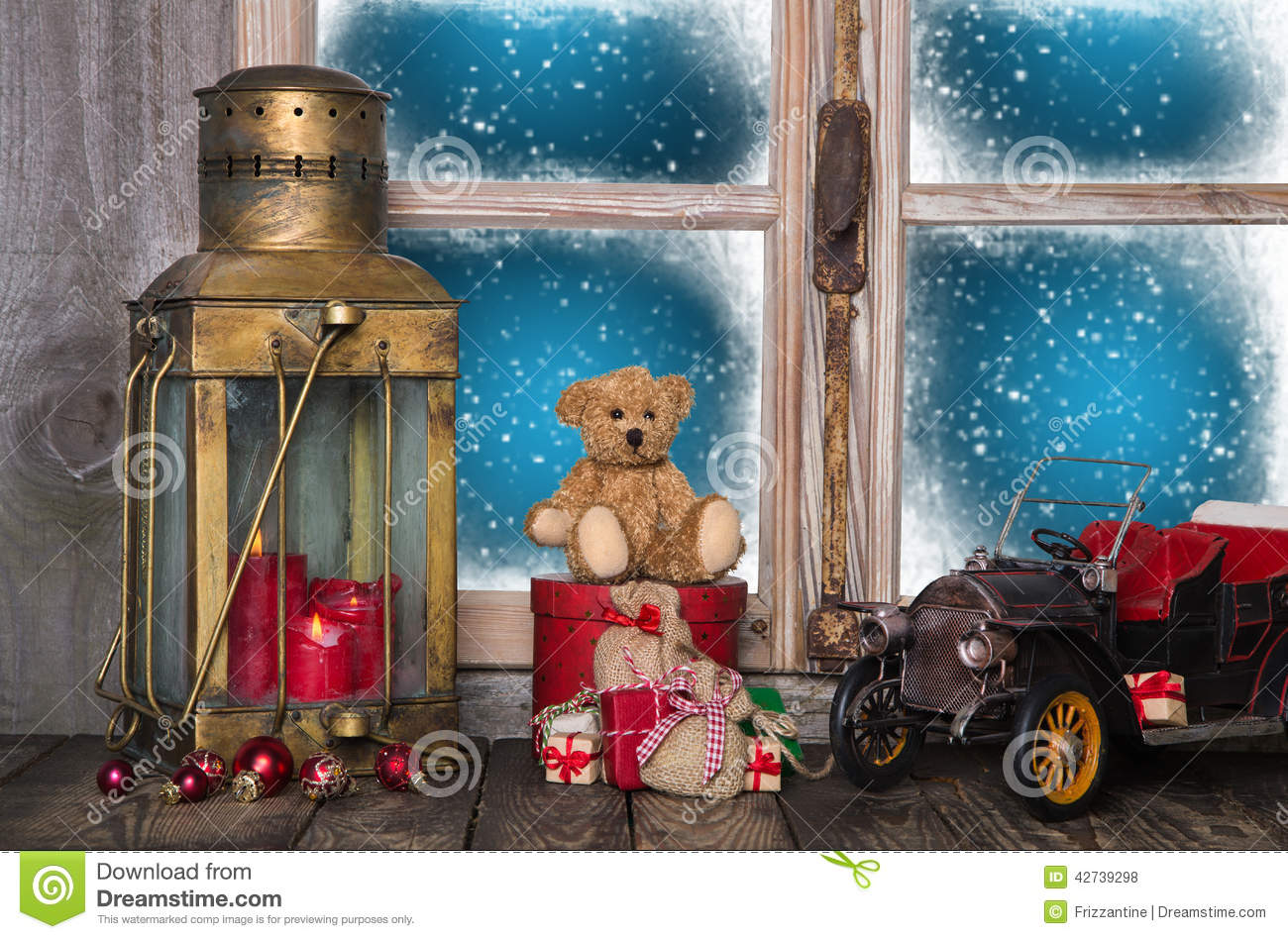 christmas window sill decoration with old nostalgic toys. Black Bedroom Furniture Sets. Home Design Ideas