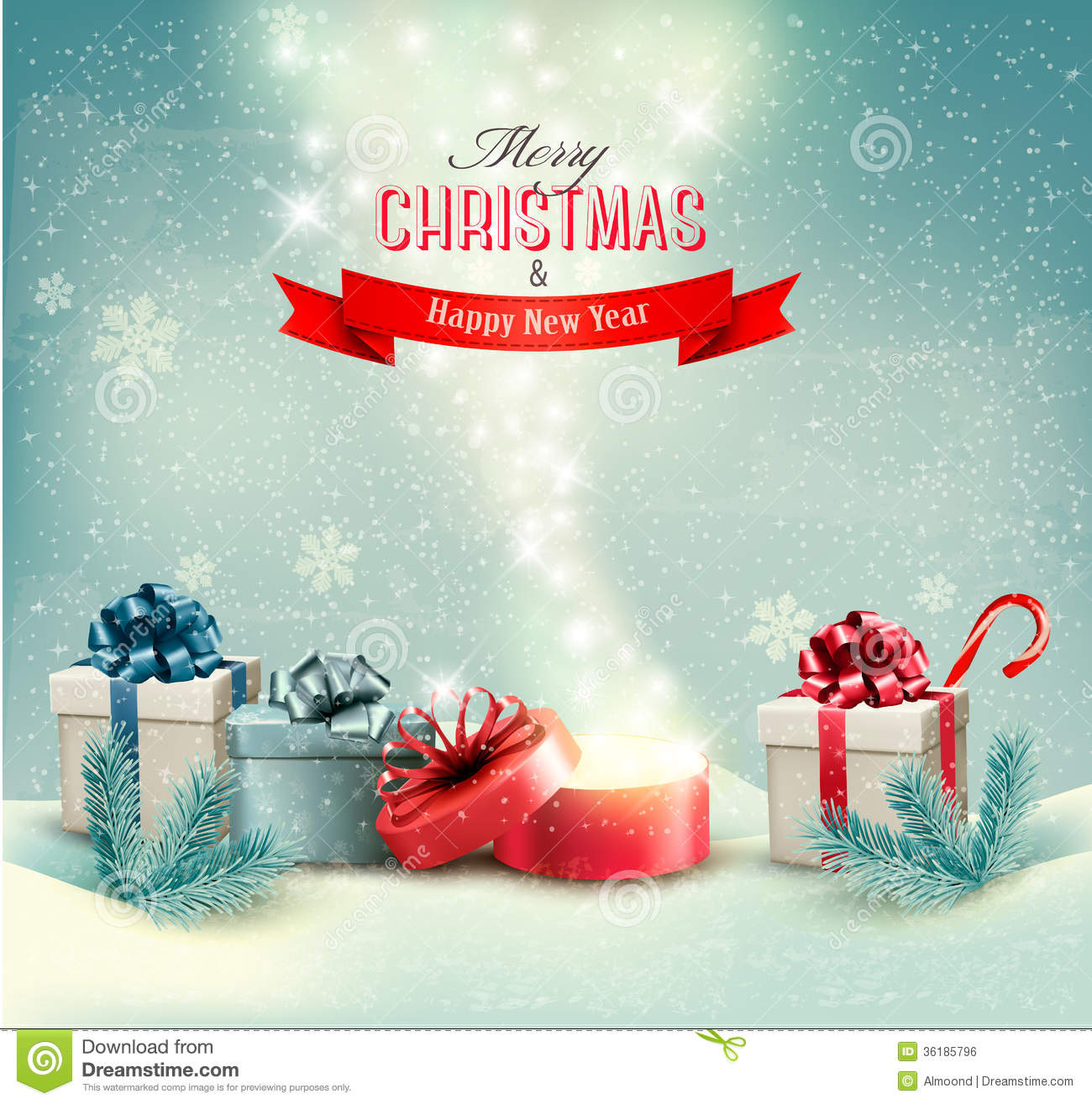 Christmas Winter Background With Presents And Open Royalty Free ...
