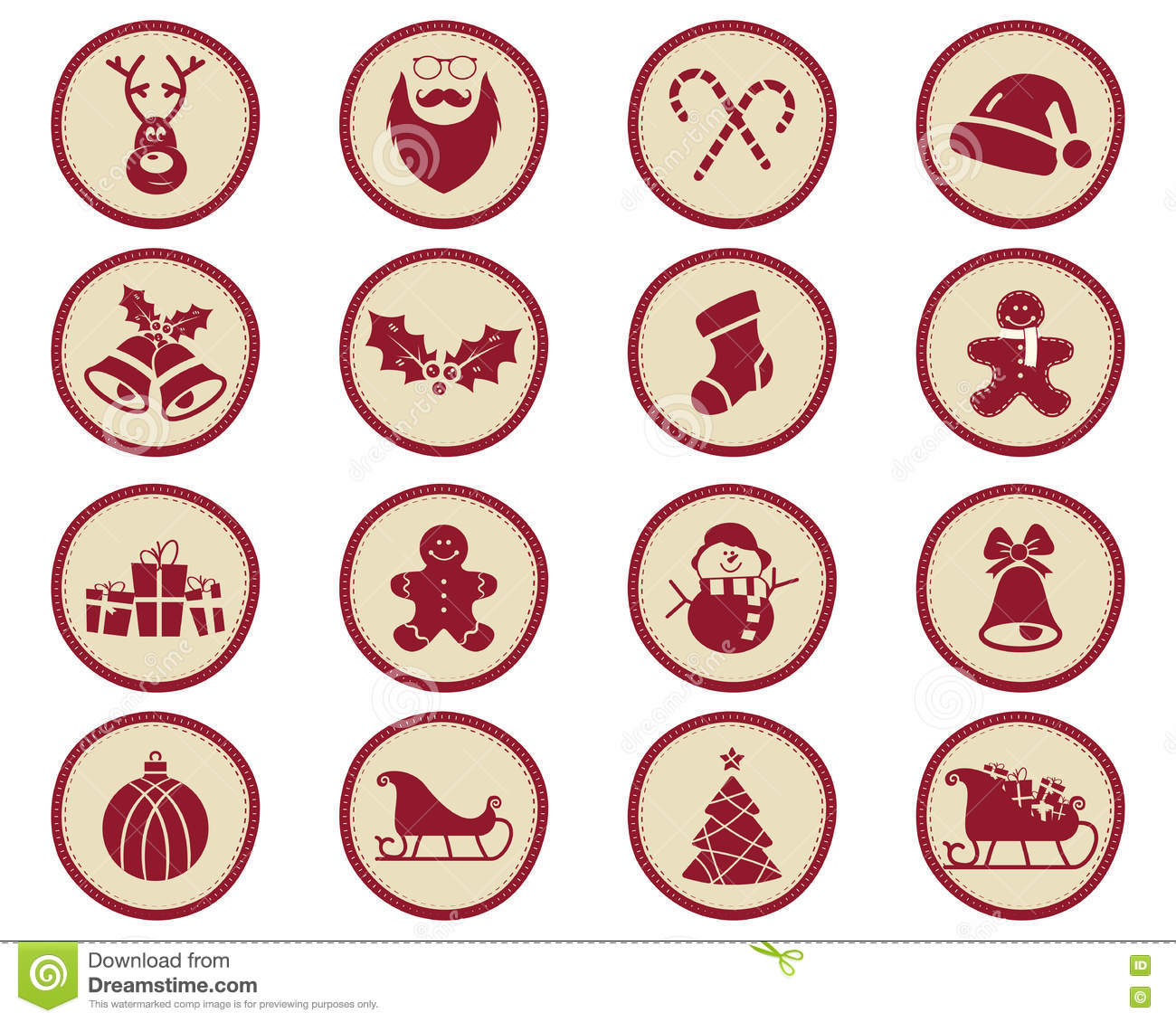 Christmas Winter Badges And Design Elements With Holiday Symbols For