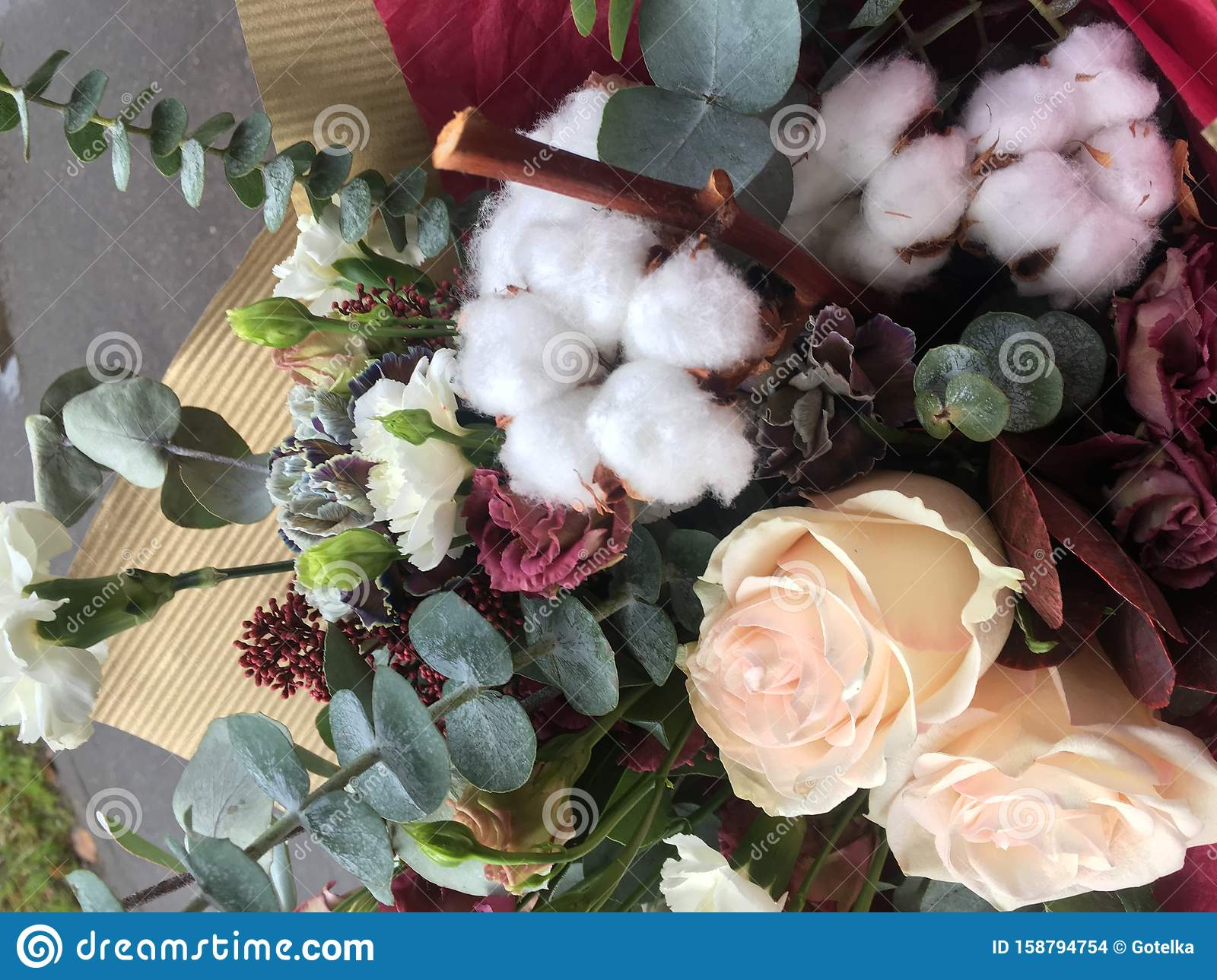 Christmas Winter Bouquet Of Fresh Flower And White Cotton A Bouquet Of Fresh Roses Eucalyptus Green Fir Branches Stock Photo Image Of Berry Holiday 158794754