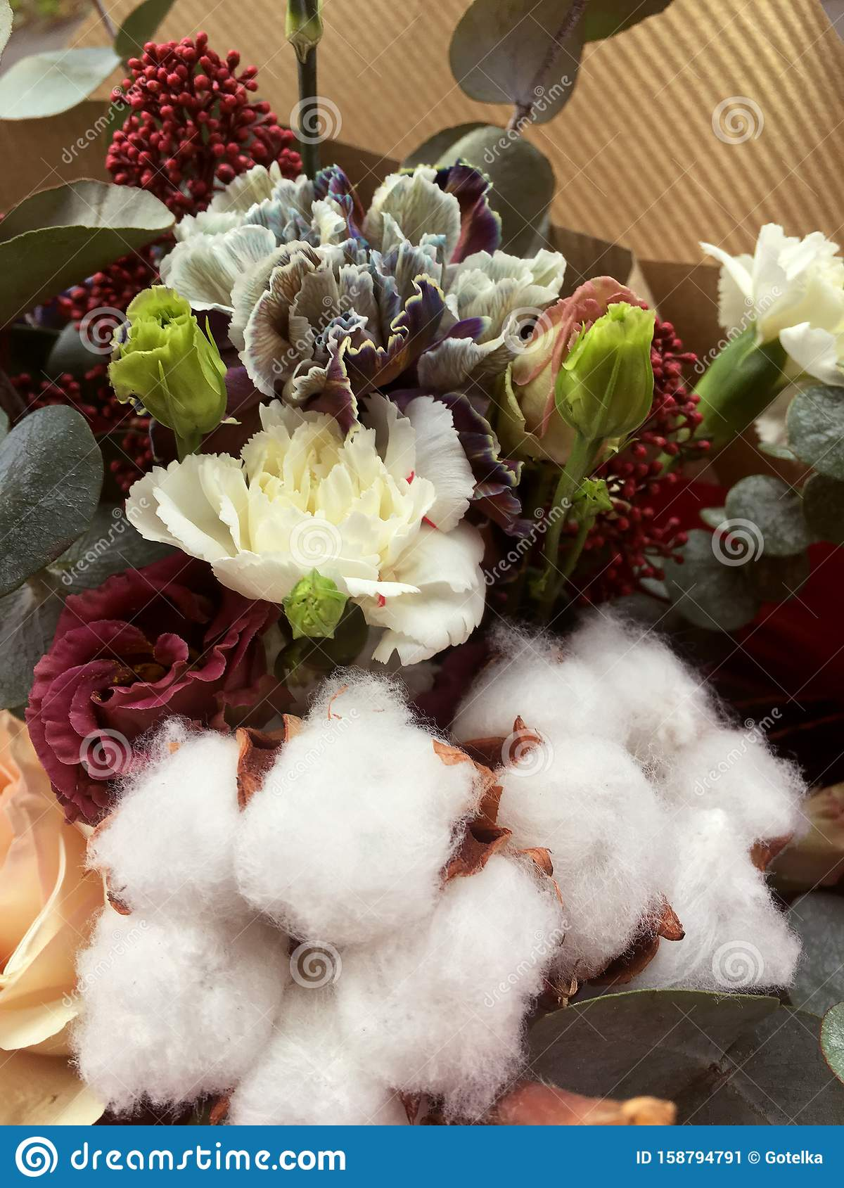 Christmas Winter Bouquet Of Fresh Flower And White Cotton A Bouquet Of Fresh Roses Eucalyptus Green Fir Branches Stock Image Image Of Isolated Branch 158794791