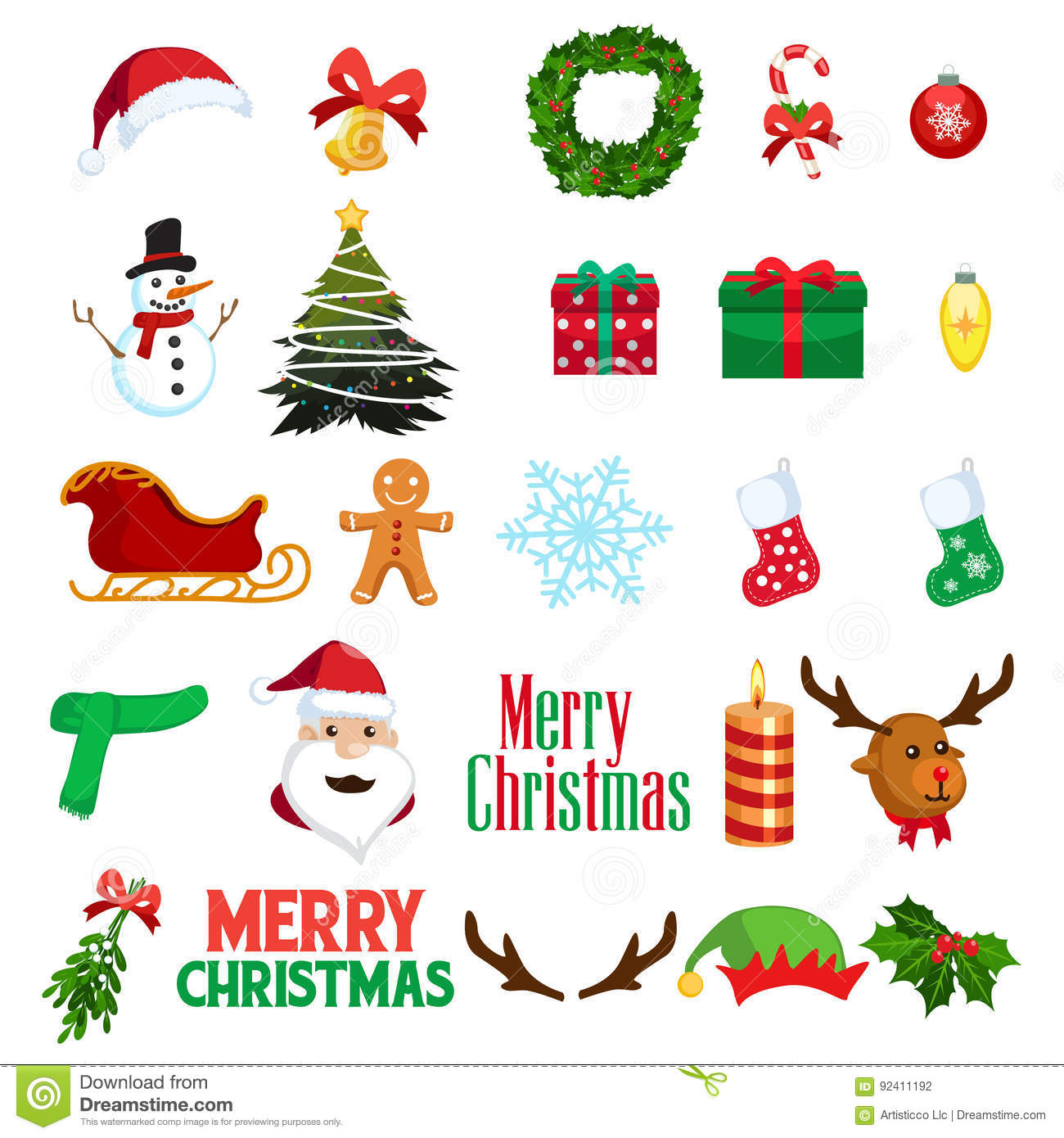 Christmas Winter Clipart Icons Stock Vector Illustration Of Gift Season 92411192