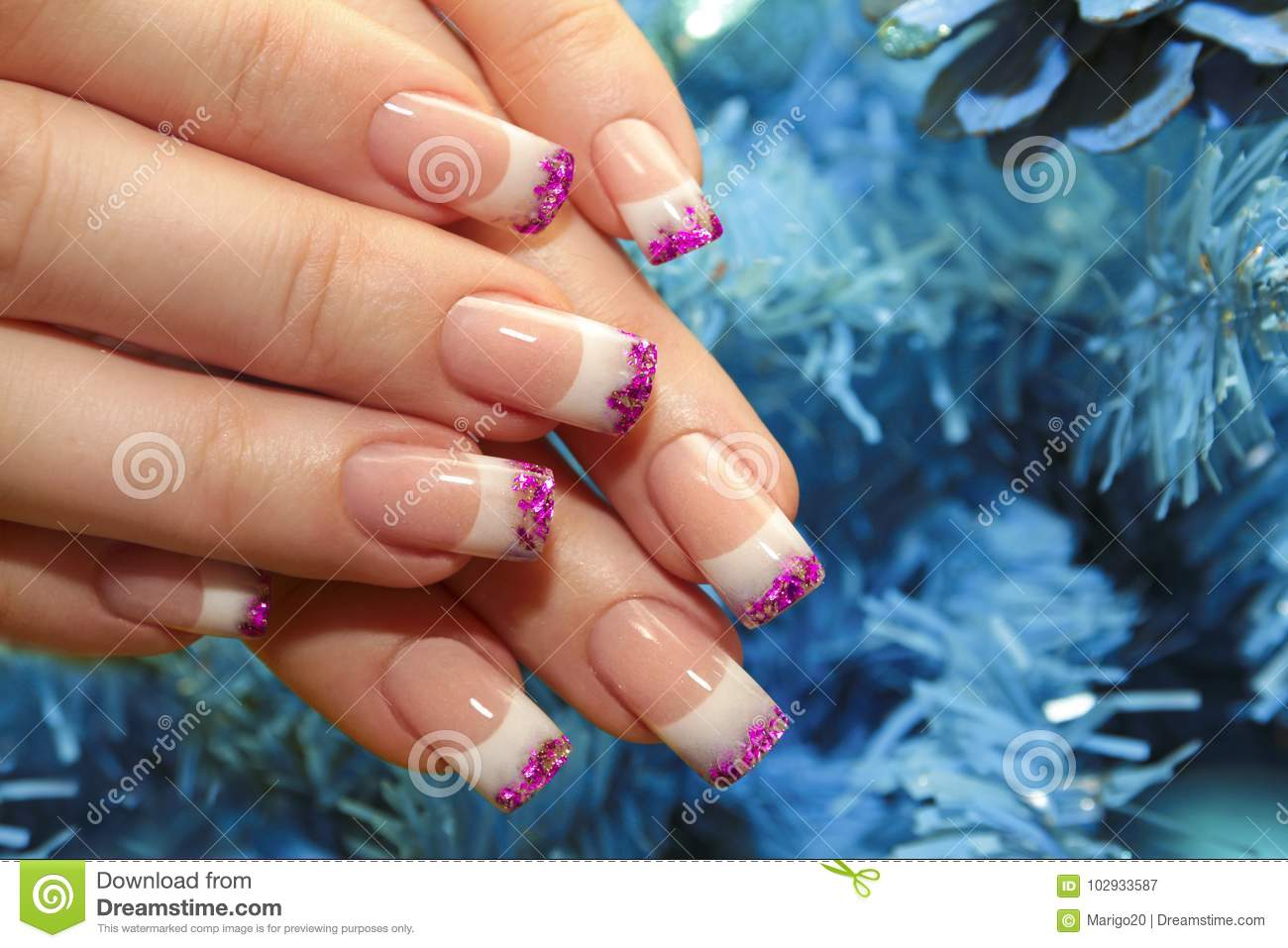 Christmas Winter Design French Manicure Stock Image Image Of