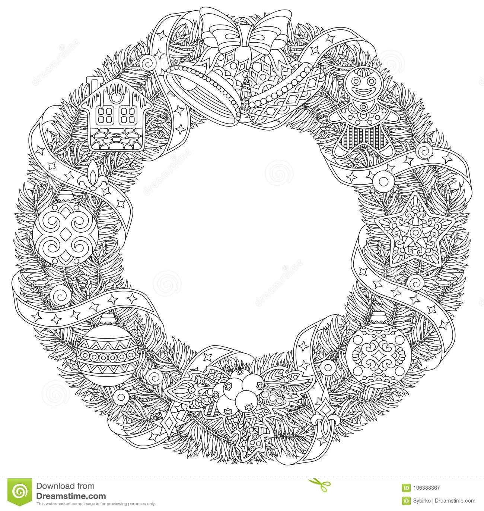 Christmas Winter Door Wreath With Retro Ornaments