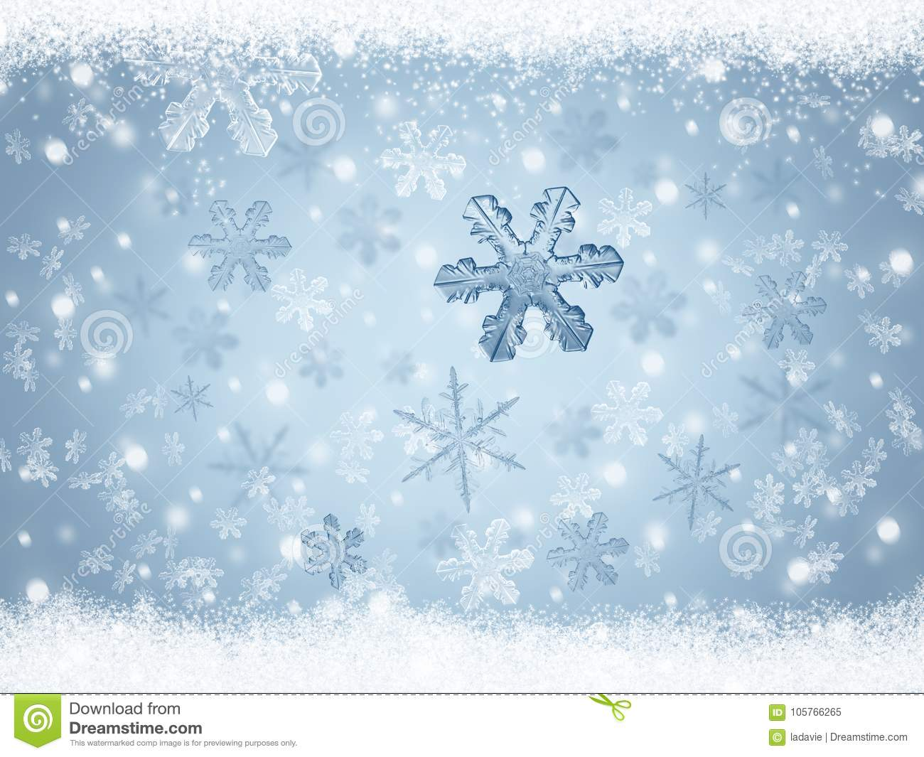 christmas winter holiday background with snowflakes and frozen snow
