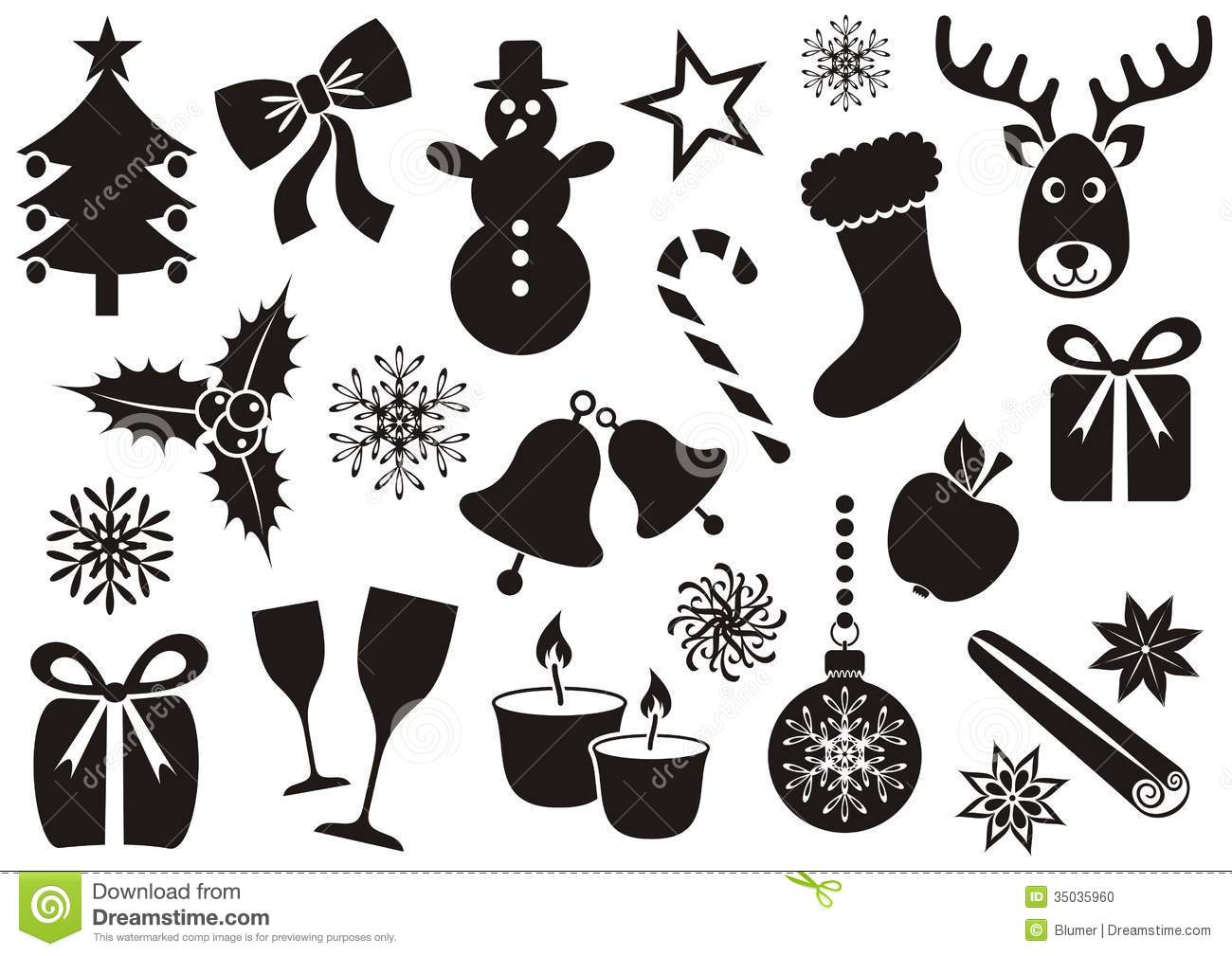 Christmas And Winter Icons Stock Photo Image 35035960