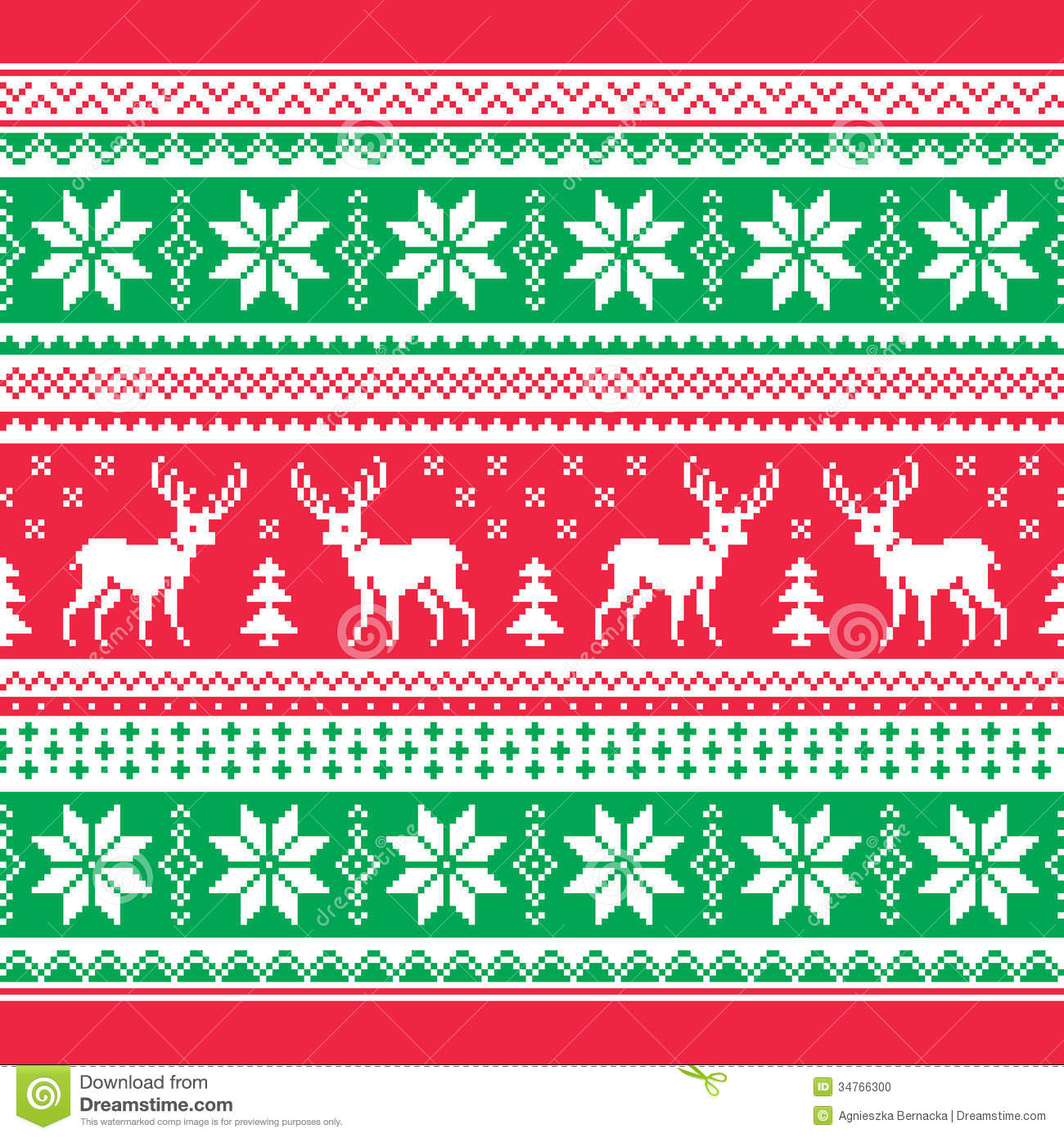 Knitting Pattern Christmas Jumper Reindeer : Christmas And Winter Knitted Pattern, Card - Scandynavian Sweater Style Stock...
