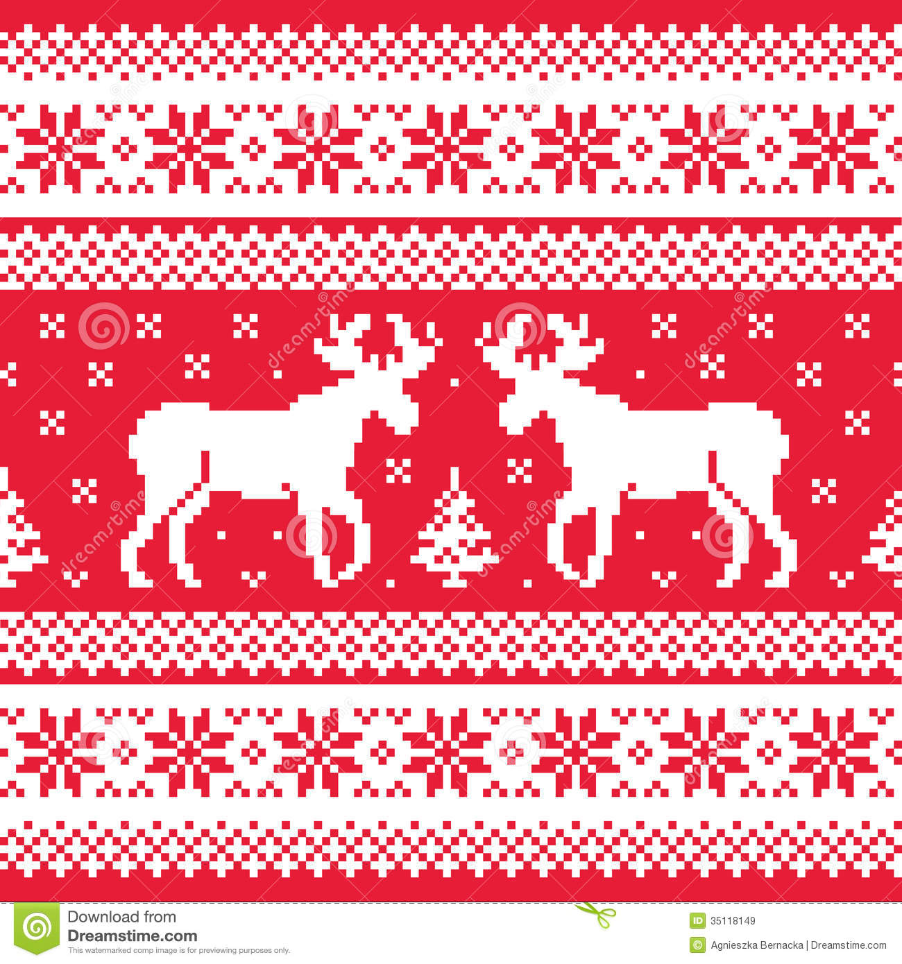 Christmas And Winter Knitted Pattern With Reindeer Stock Vector ...
