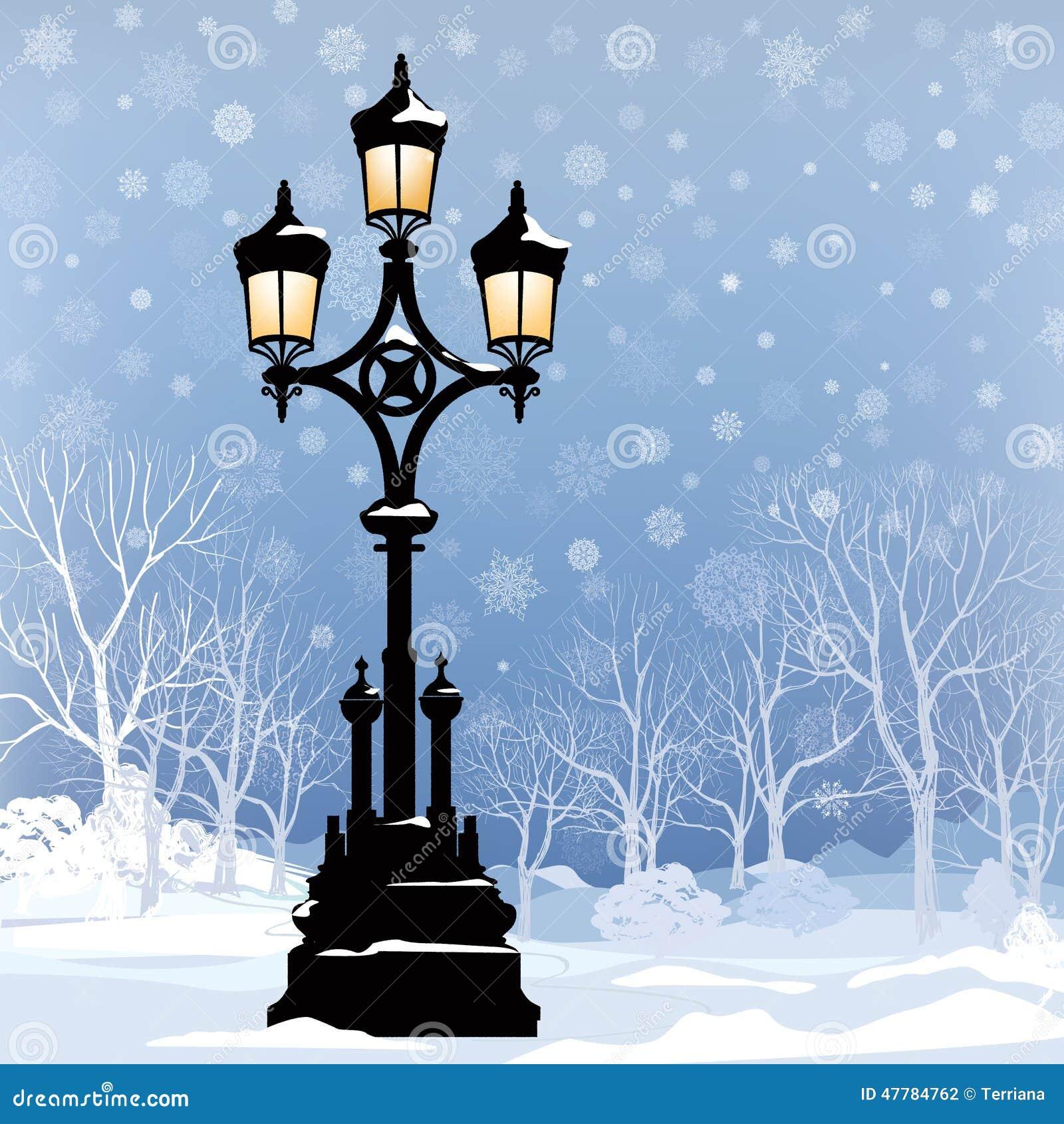 download christmas winter landscape with street light in park stock illustration illustration of exterior