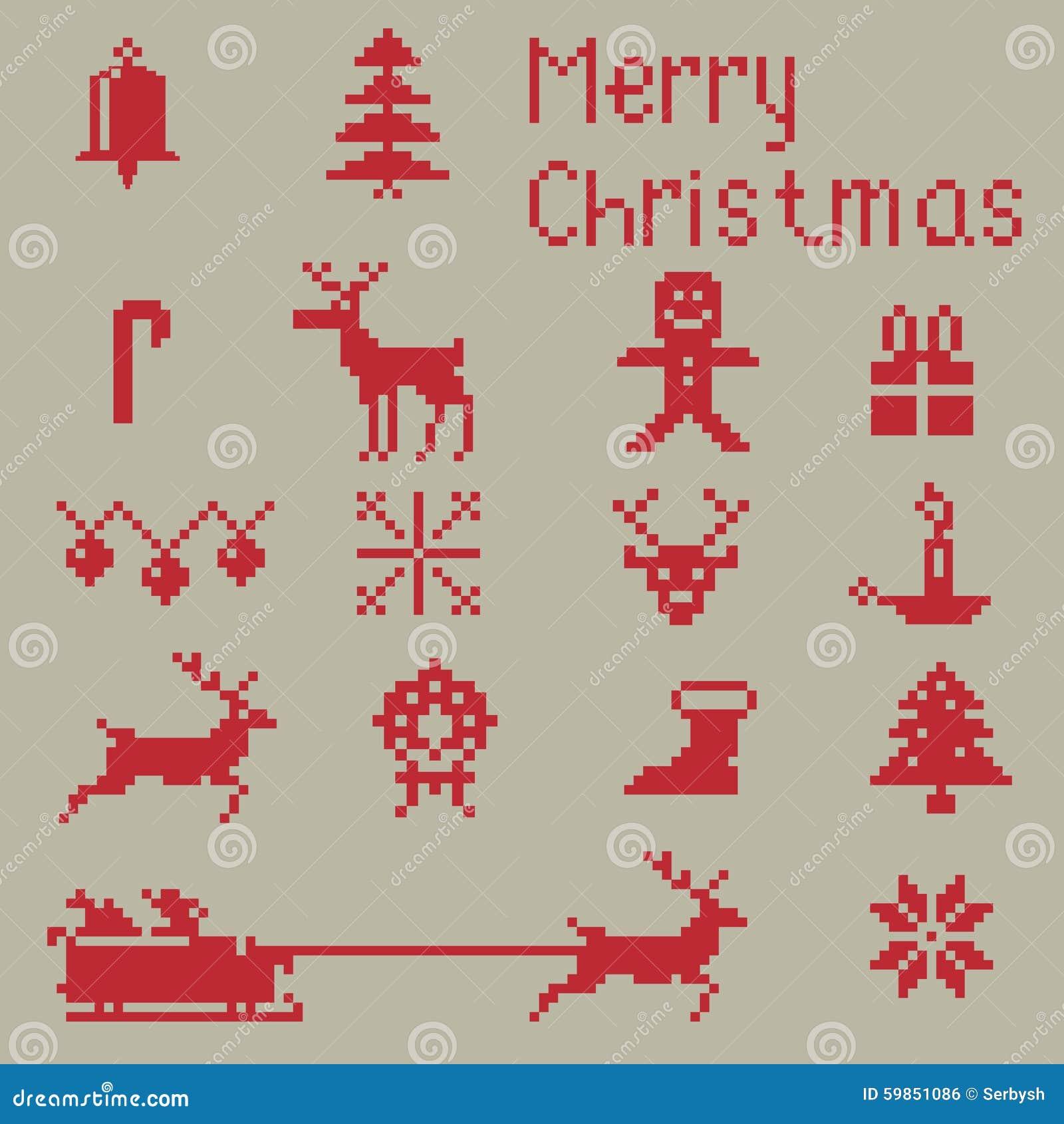 Christmas Winter Pixels Stock Illustration - Image: 59851086