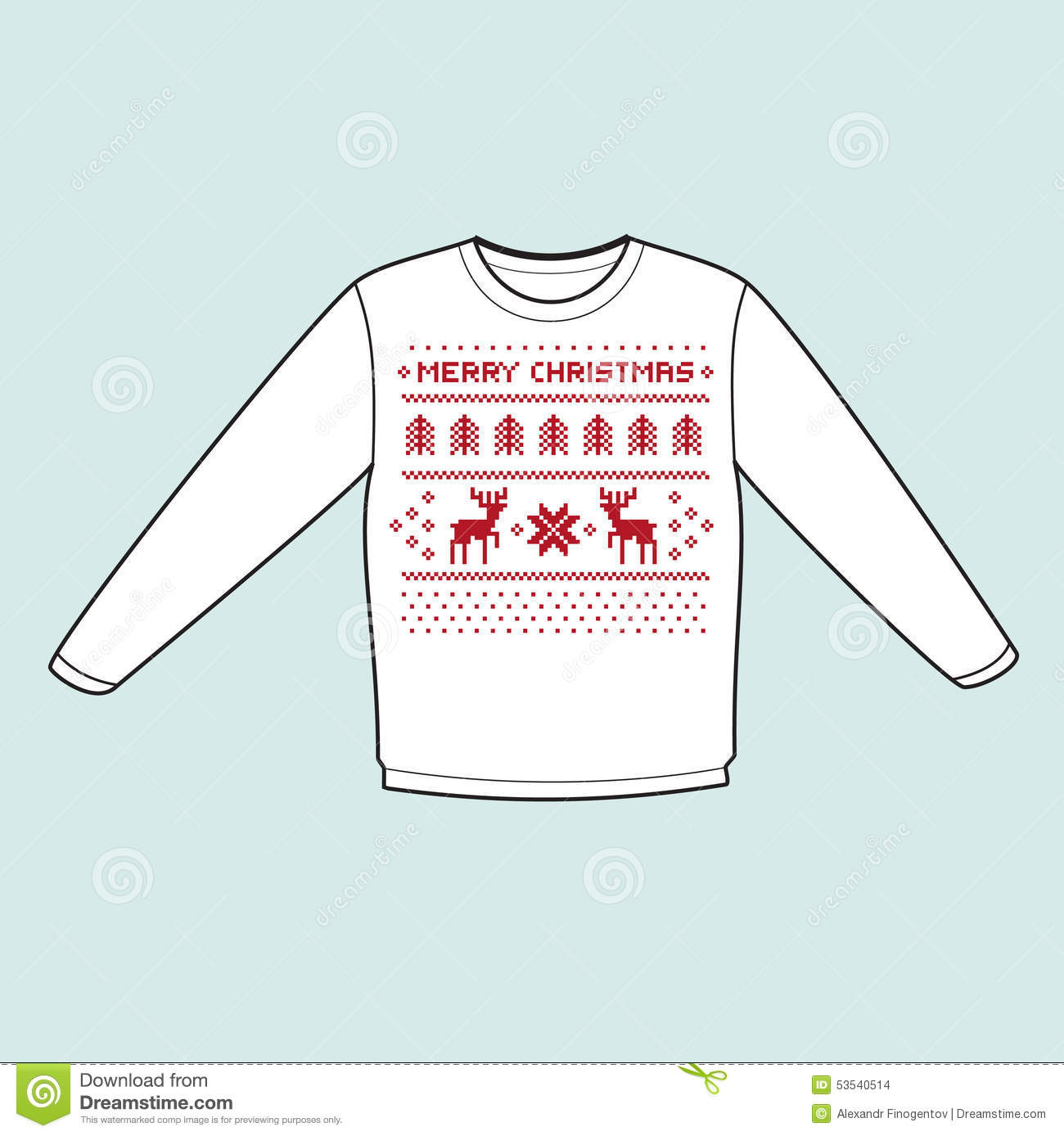 Christmas Winter Warm Sweater Flat Icon Mockup With Pixel Deers Stock Illustration Image 53540514