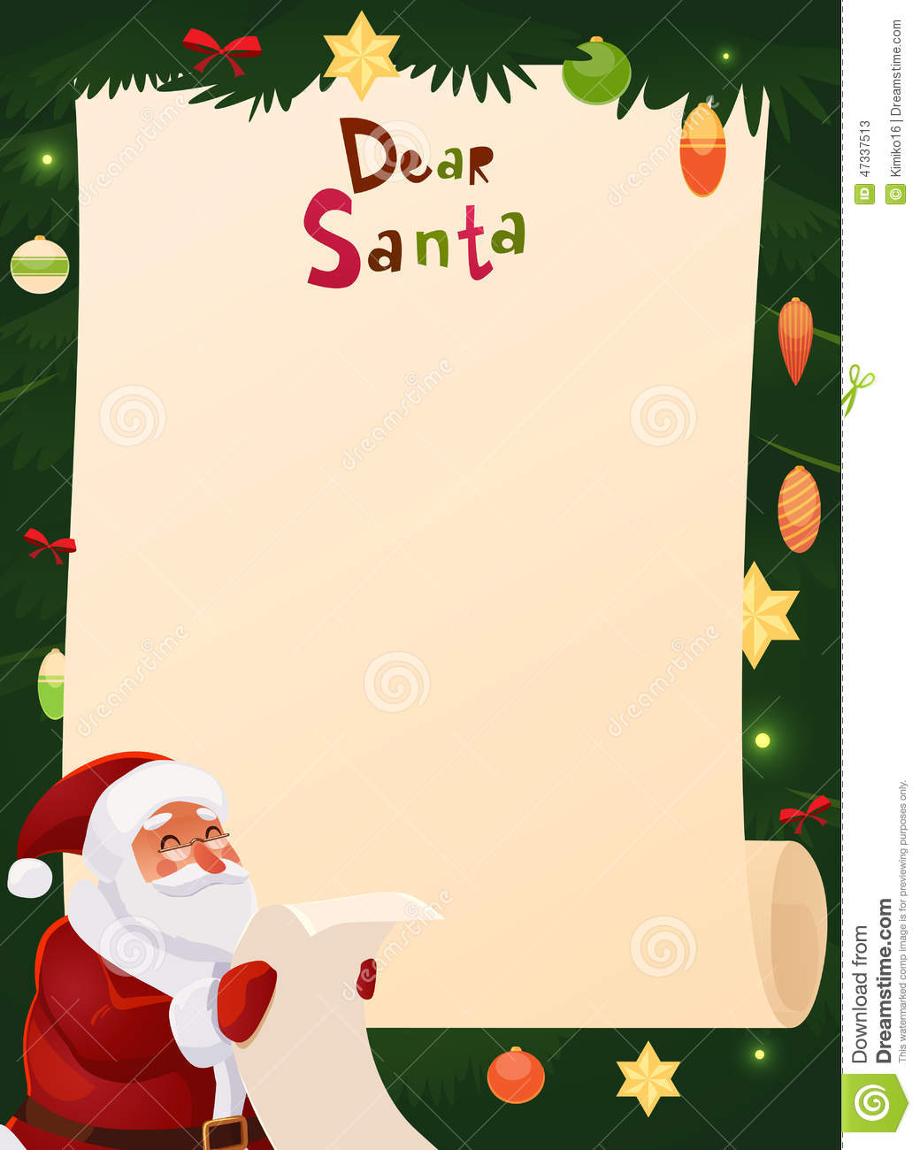 christmas wish list design blank stock vector illustration of