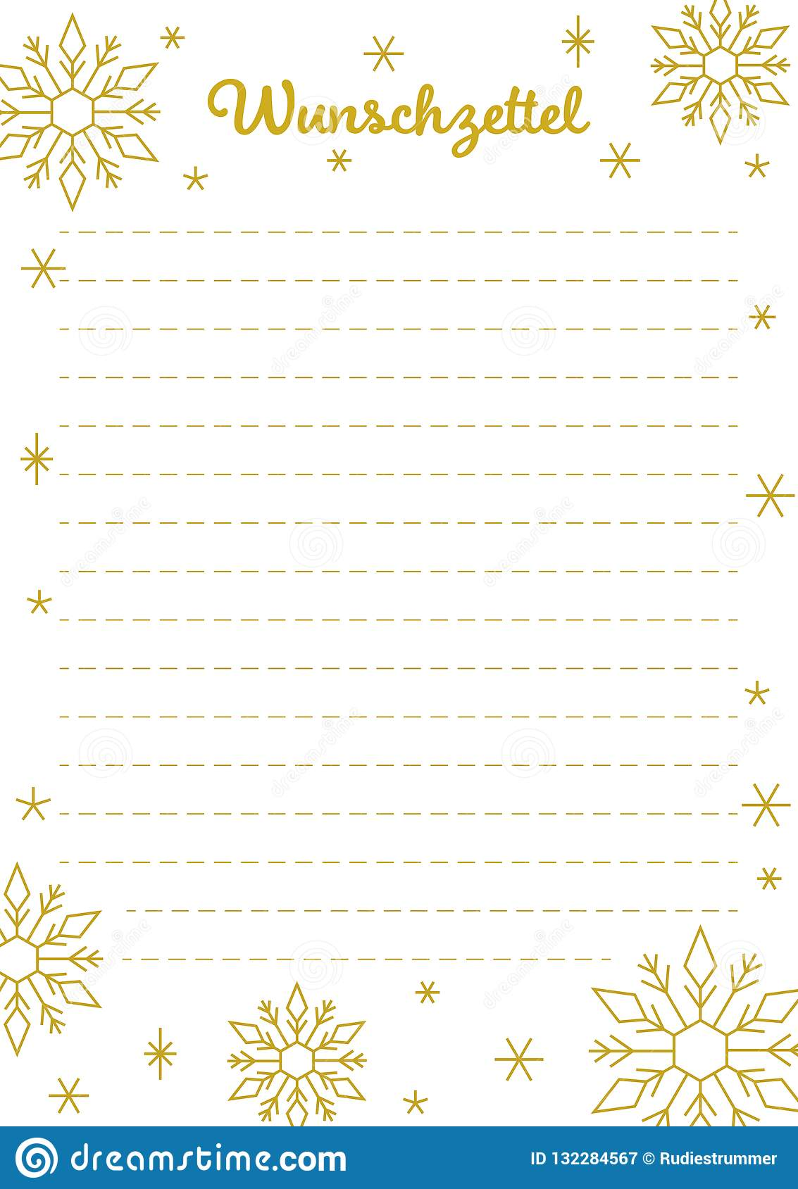 image relating to Wish List Printable named Xmas Drive Listing, German, Printable, Golden Lettering And