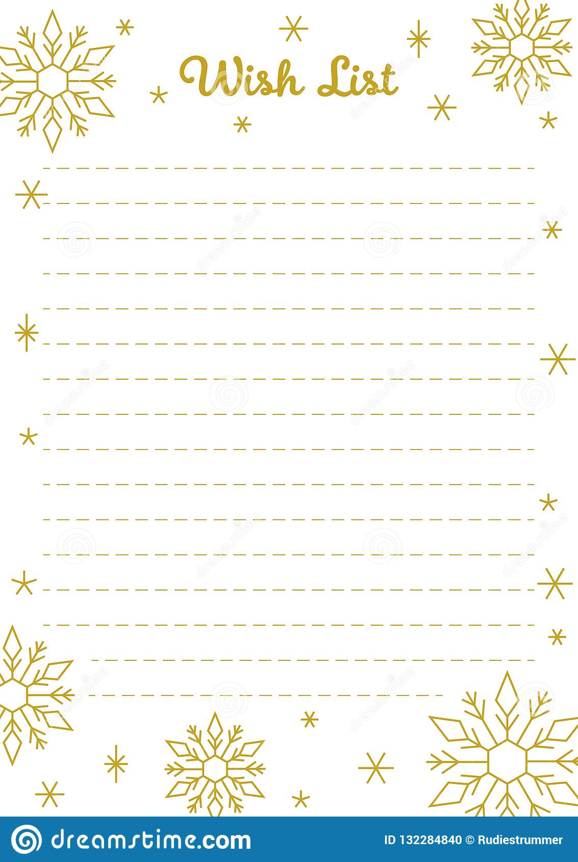 Christmas Wish List Printable Golden Lettering And