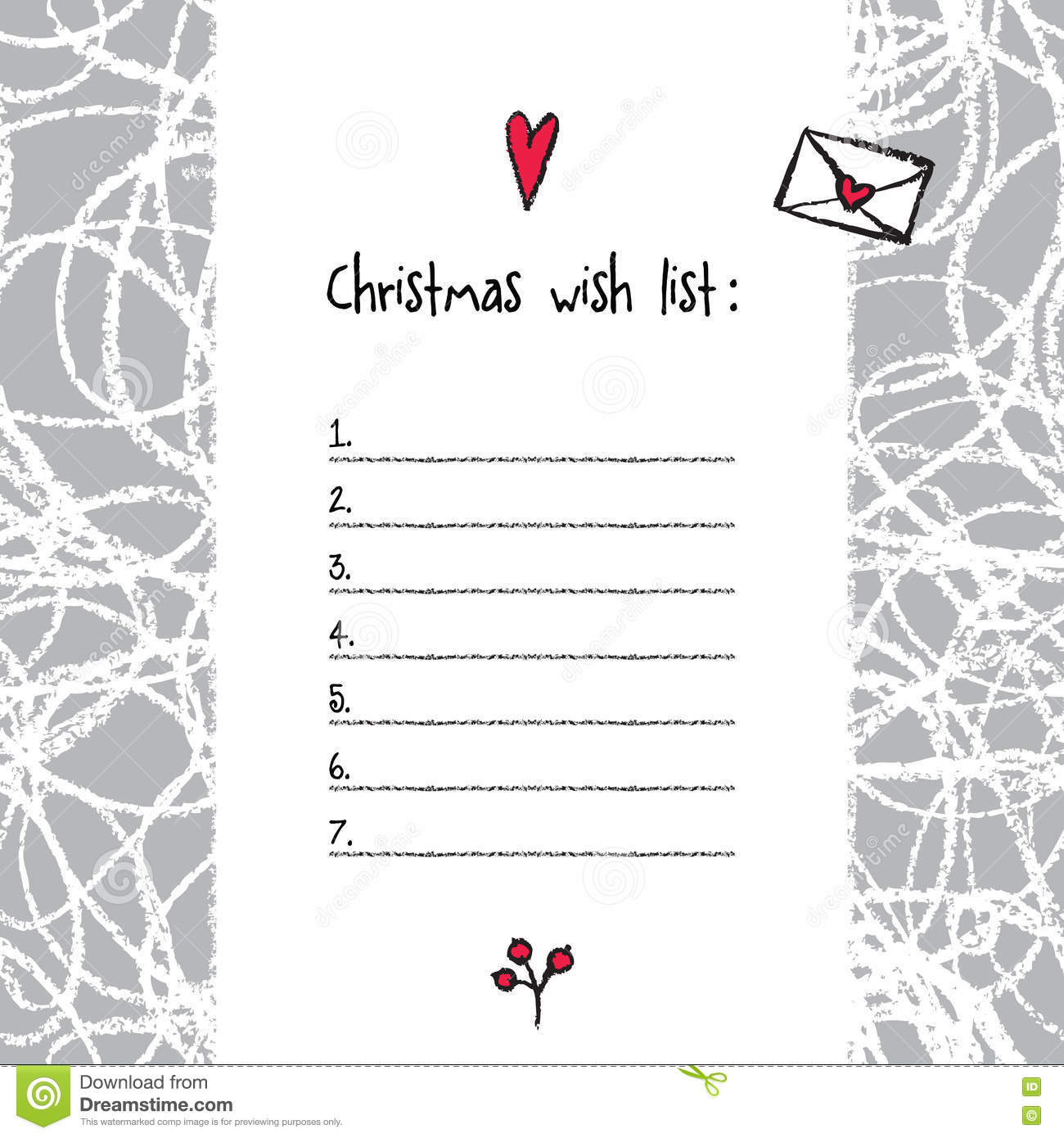 Christmas Wish List Template Hand Drawn Elements Printable Des – Printable Christmas Wish List Template