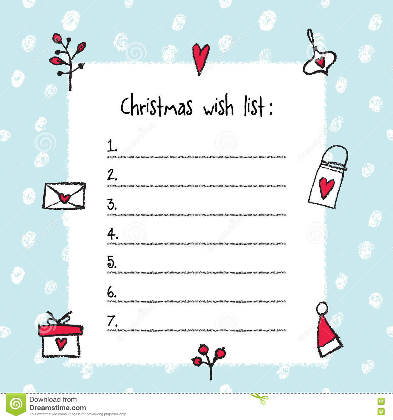 christmas wish list template stock vector illustration of