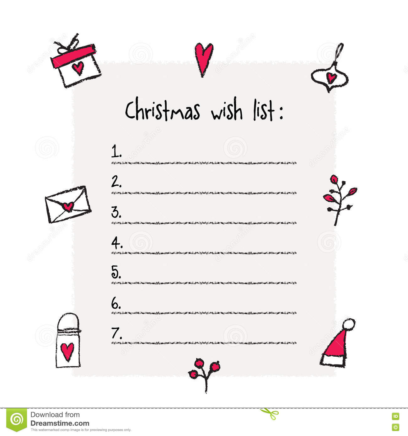 Christmas Wish List Template Vector Image 78478348 – Printable Christmas Wish List Template