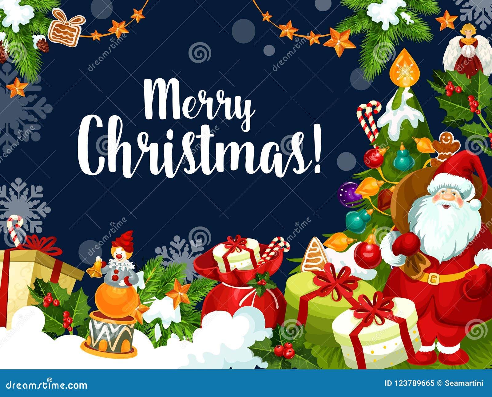 Christmas wish santa greetings vector card stock vector merry christmas greeting card and best wishes for xmas winter holiday season vector santa with gifts and decorations under christmas tree snowflakes and m4hsunfo