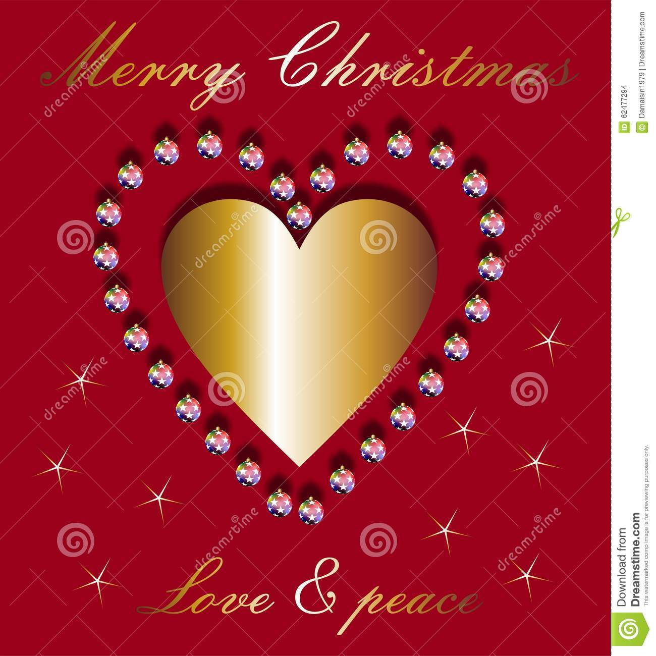 Christmas wishes and golden heart stock photo image of