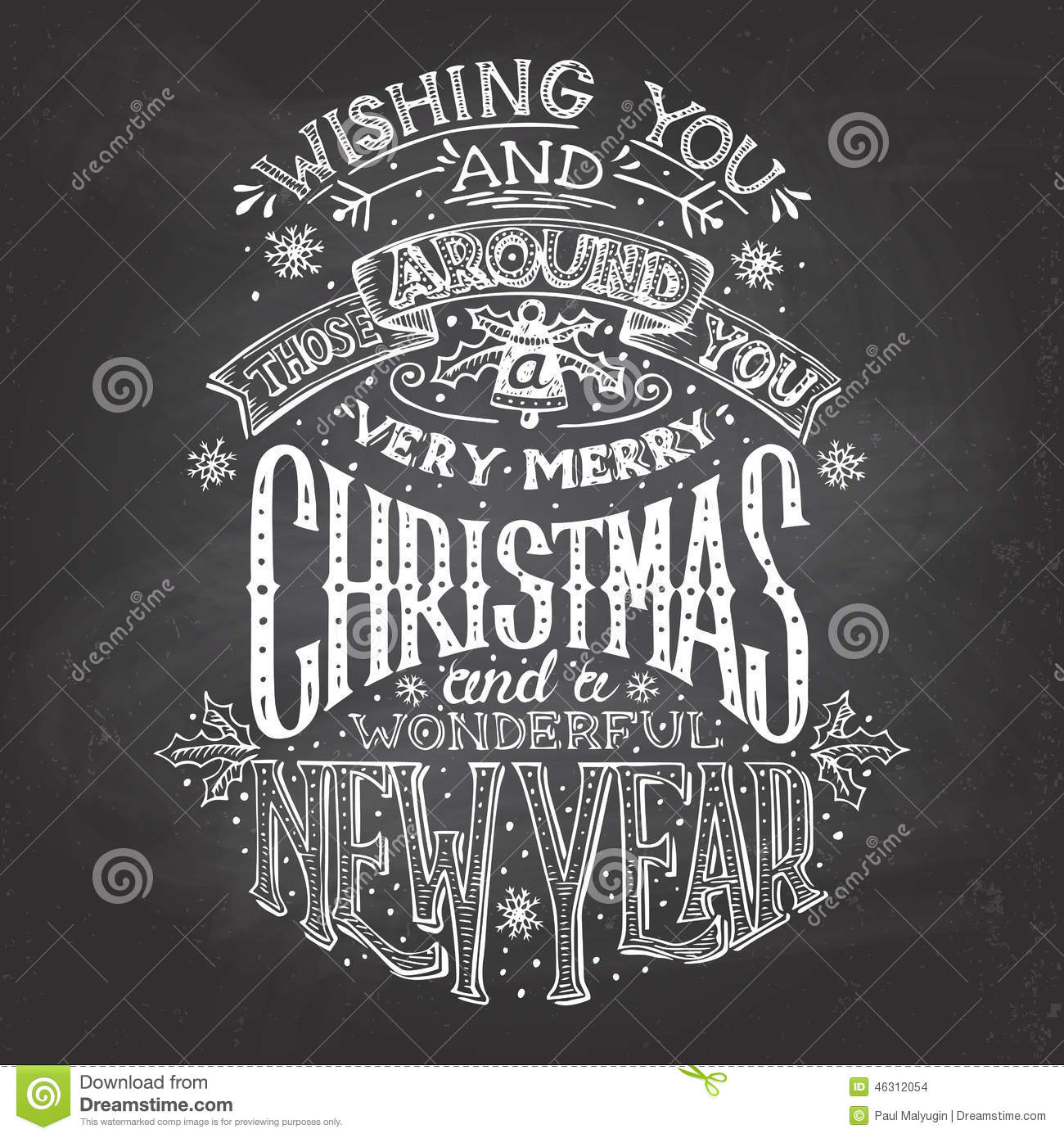 vintage hand lettering christmas and new year wishes with chalk on blackboard background greeting card
