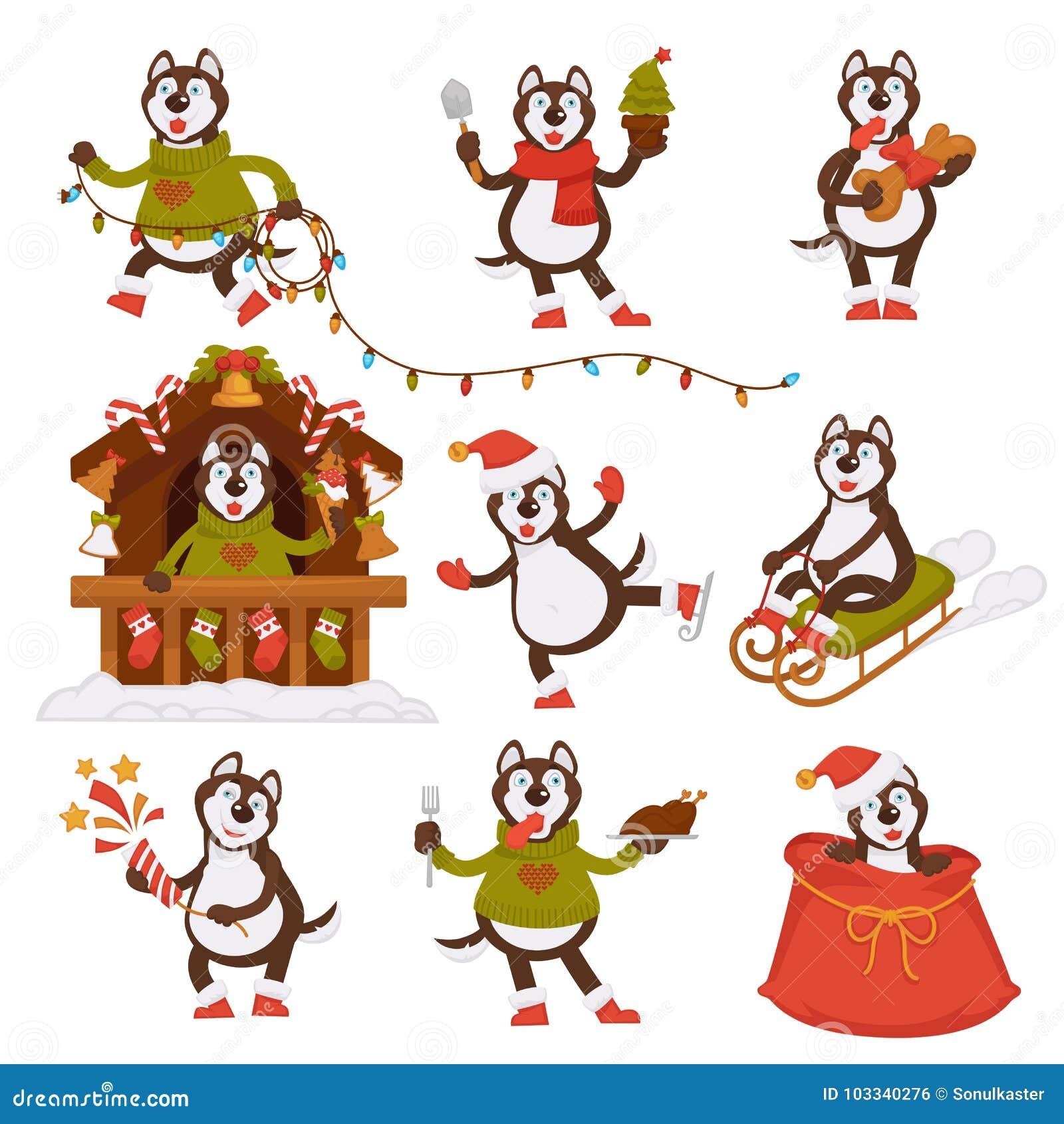 Christmas Wolf Dog Santa Cartoon Character Vector Icons Winter