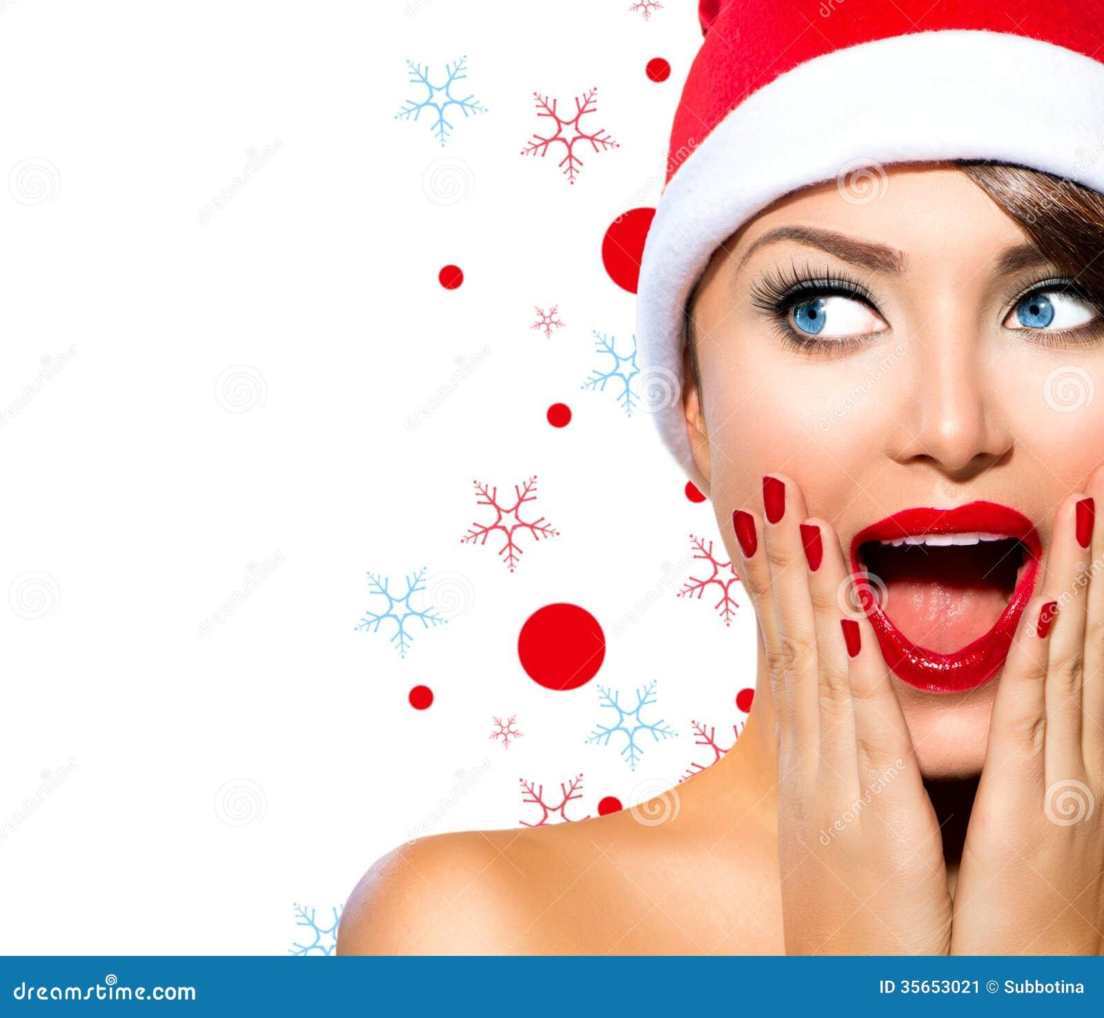 Fashion Beauty Model Girl Stock Image Image Of Manicured: Christmas Woman Stock Image