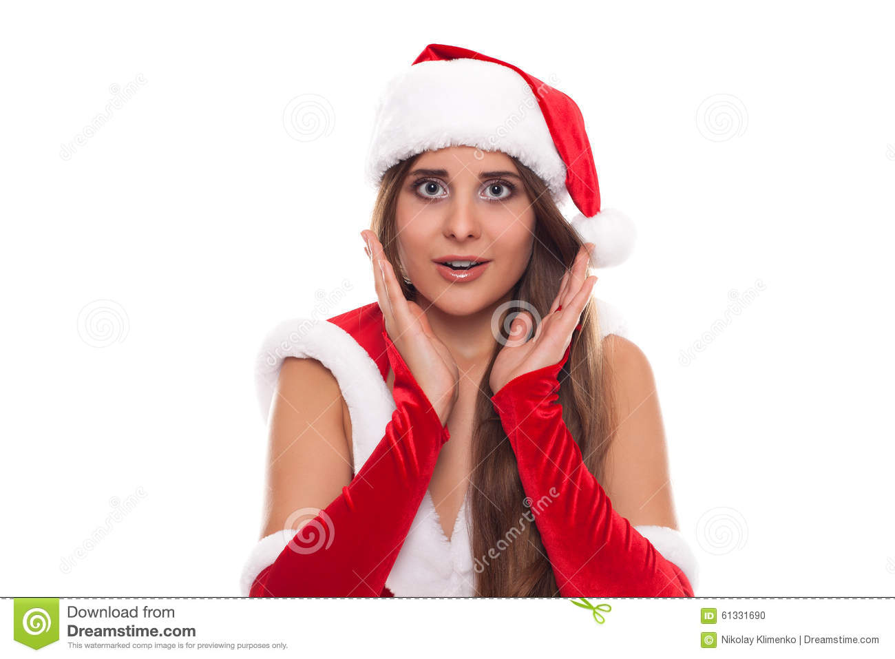 b29e38250a8 Christmas Woman. Beauty Model Girl in Santa Hat isolated on White  Background. Funny Laughing Surprised Woman Portrait. Open Mouth. True  Emotions