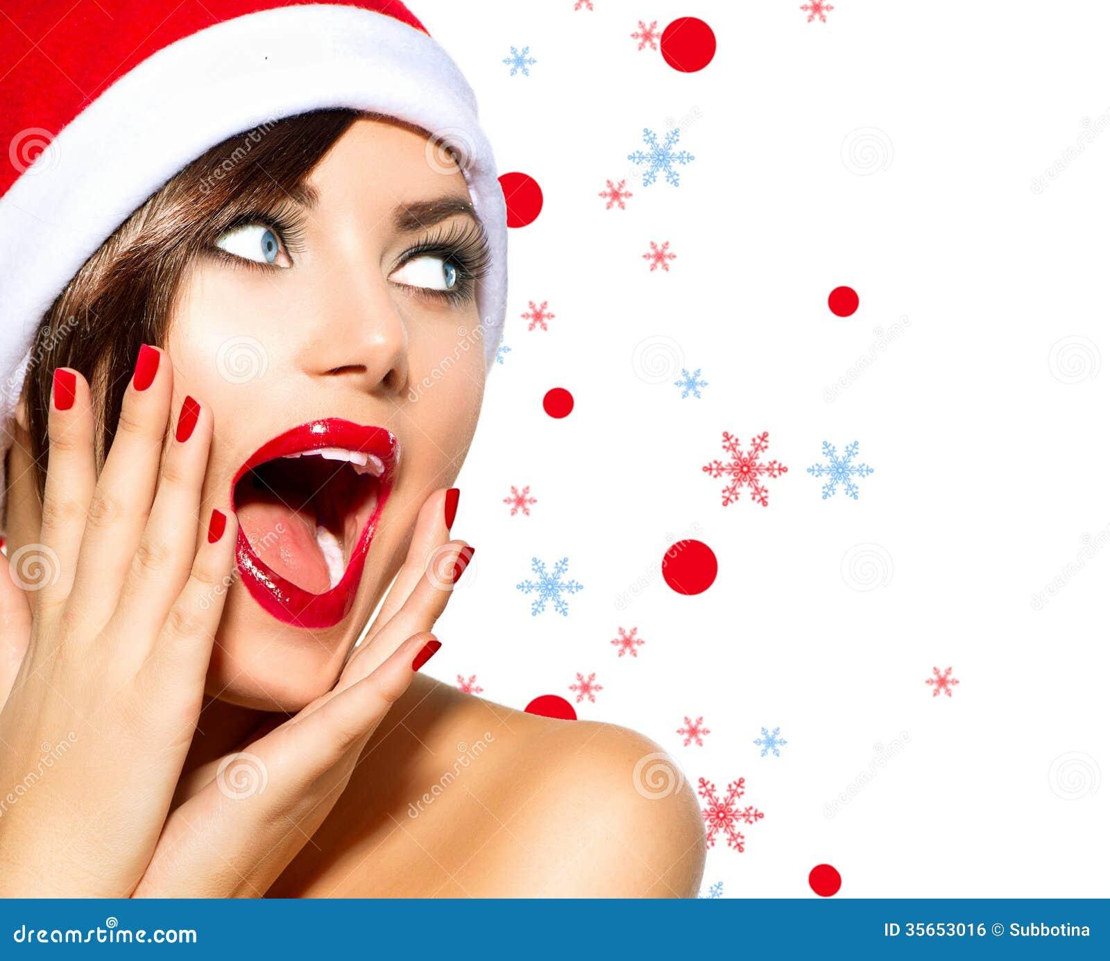 Christmas Beauty.Christmas Woman Stock Photo Image Of Isolated Happy 35653016