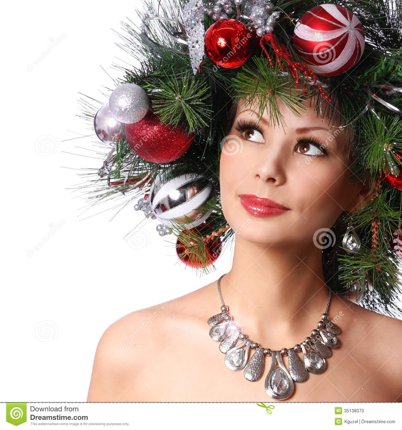 Christmas Woman Fashion Girl With New Year Decorated Hairstyle - Girl hairstyle photo download